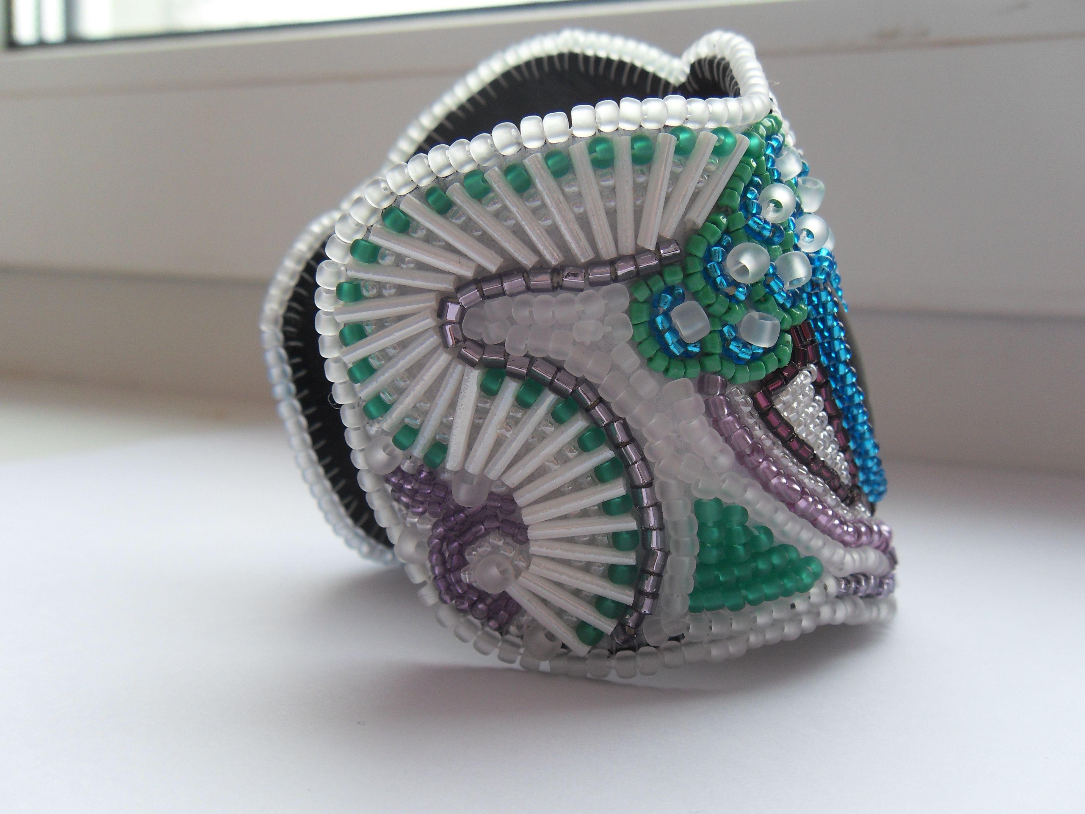 подарок браслет купить японскийбисер обсидиан сиреневый купитьбраслет украшение аленаэир чешскийбисер голубой белый вышивкабисером