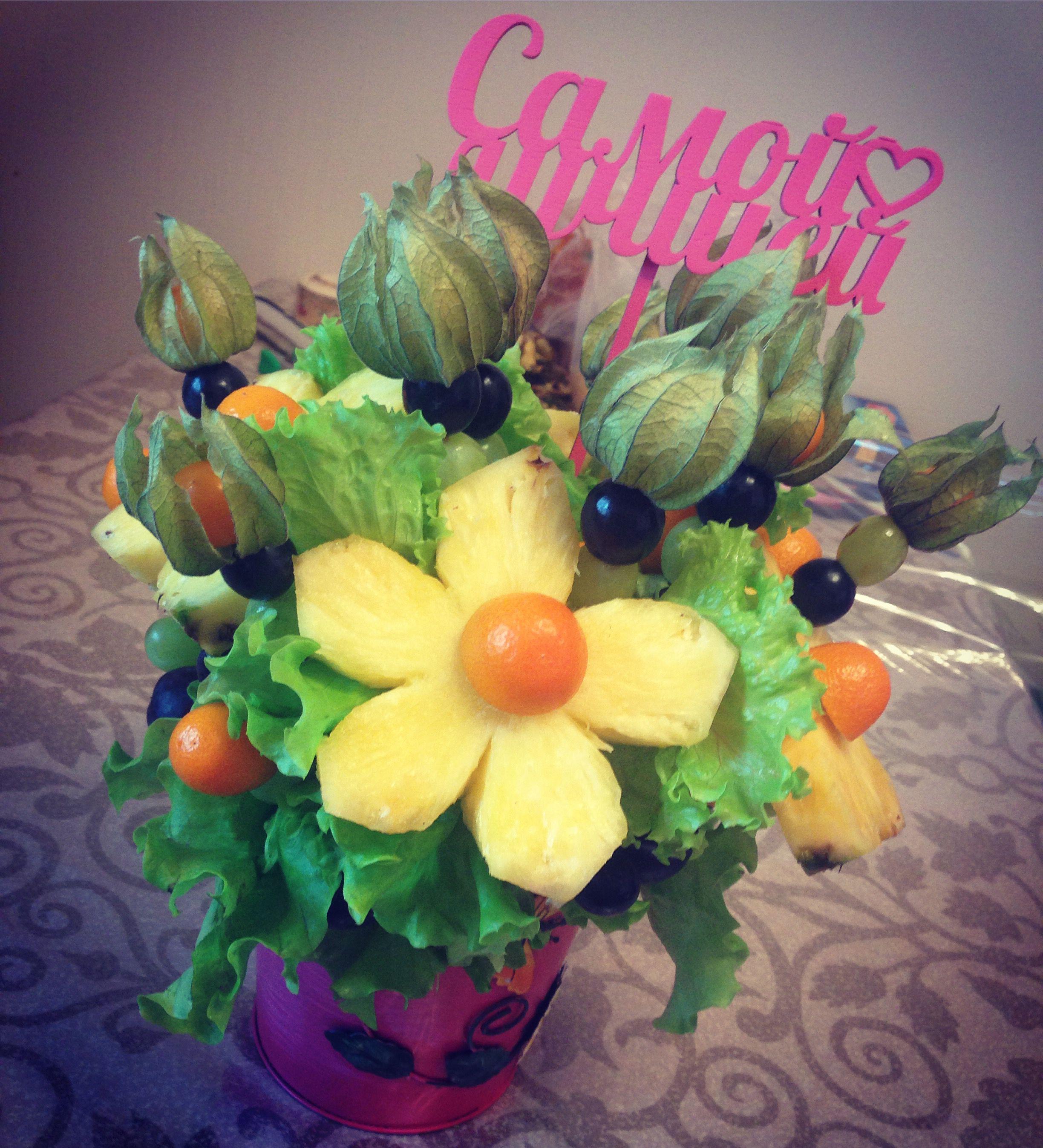 сюрприз деньрожденье цветывкоробке букетизфруктов фруктовыйбукет