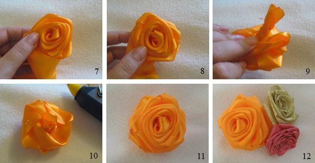 Розы из атласных лент мастер класс 7