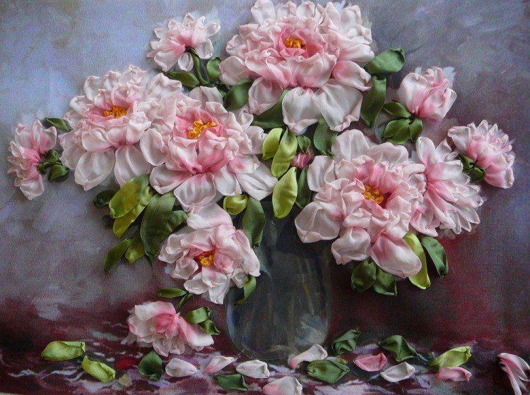 лентами мастеркласс вышивка пионы цветы
