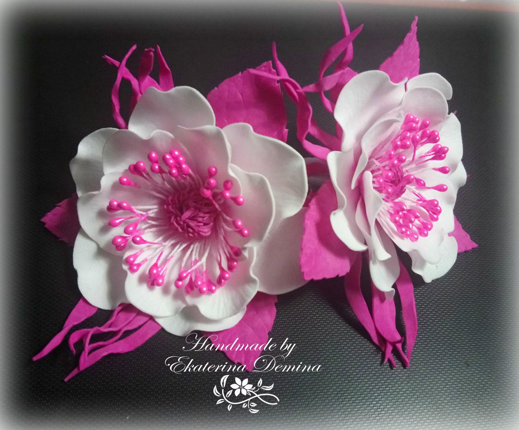 цветок заколка фоамиран аксессуар