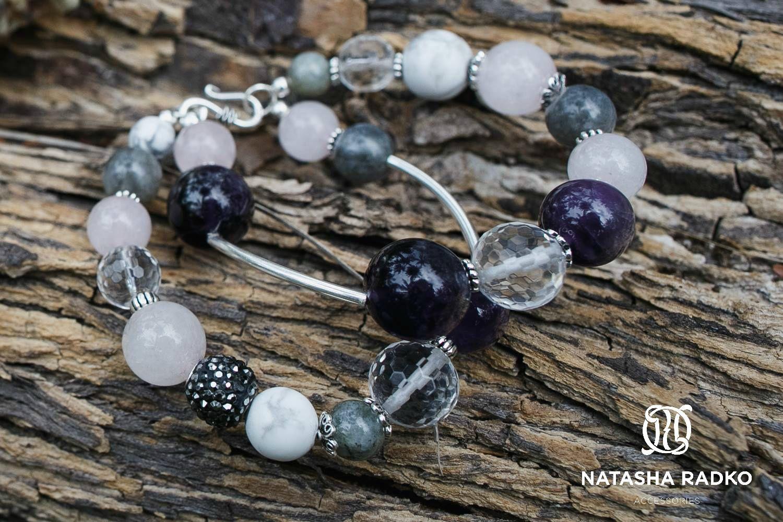 кахолонг лабрадор украшение браслет натуральные аметист серебро камни кварц подарок