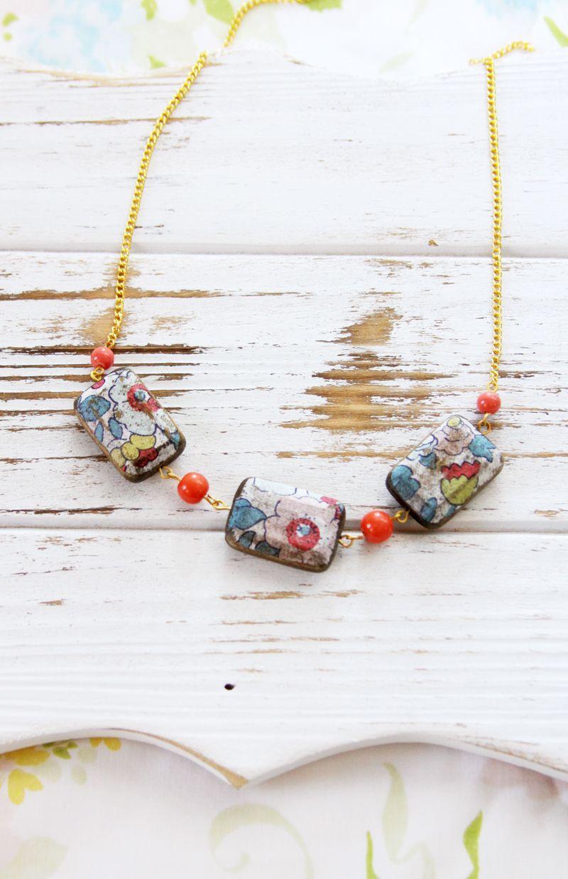 ожерелье бусины декупаж своими идеи подарки руками бижутерия