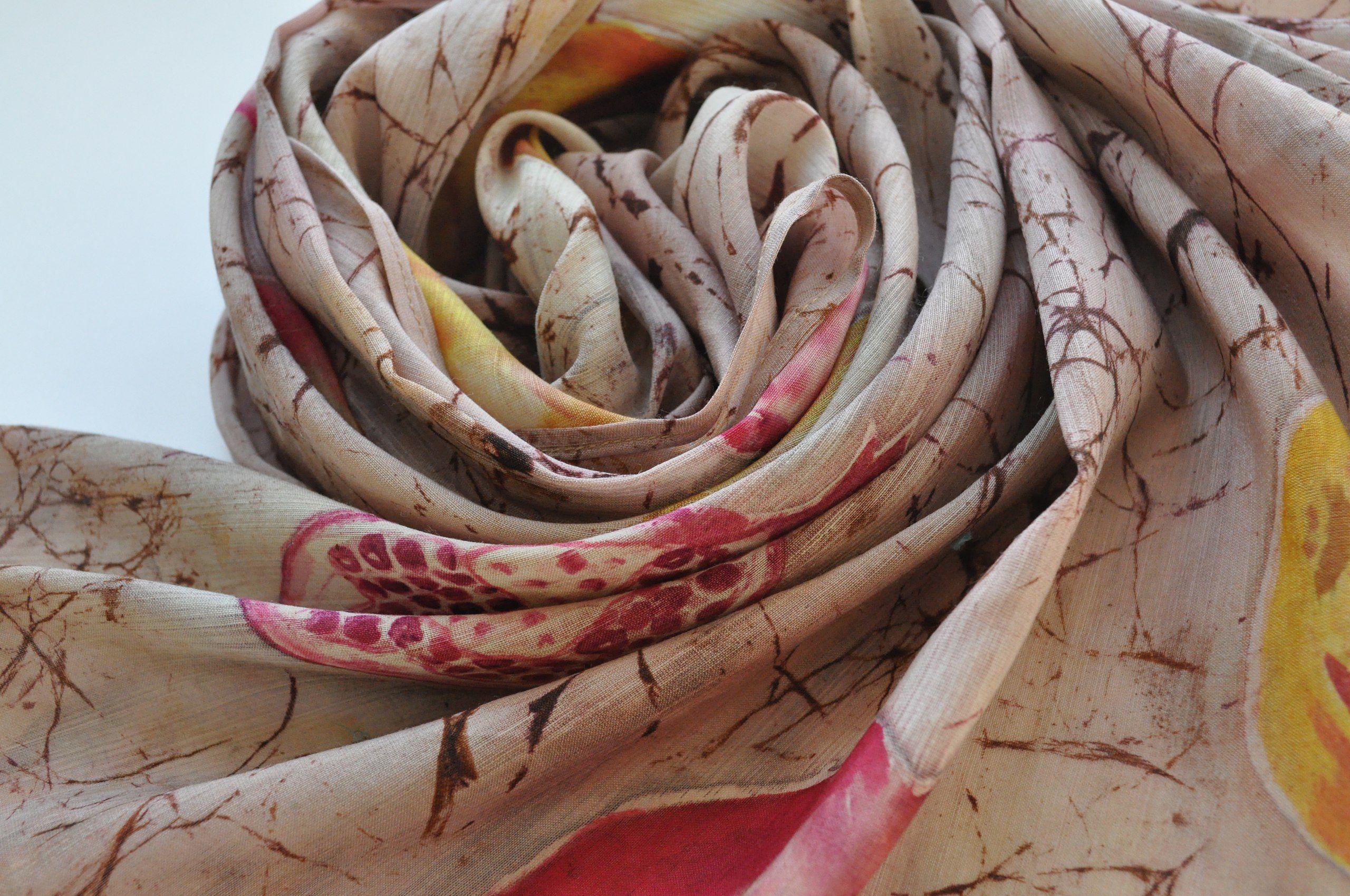 роспись подарокдевушке шарф подарокна8марта ручная росписьткани женскийшарф батик батикназаказ