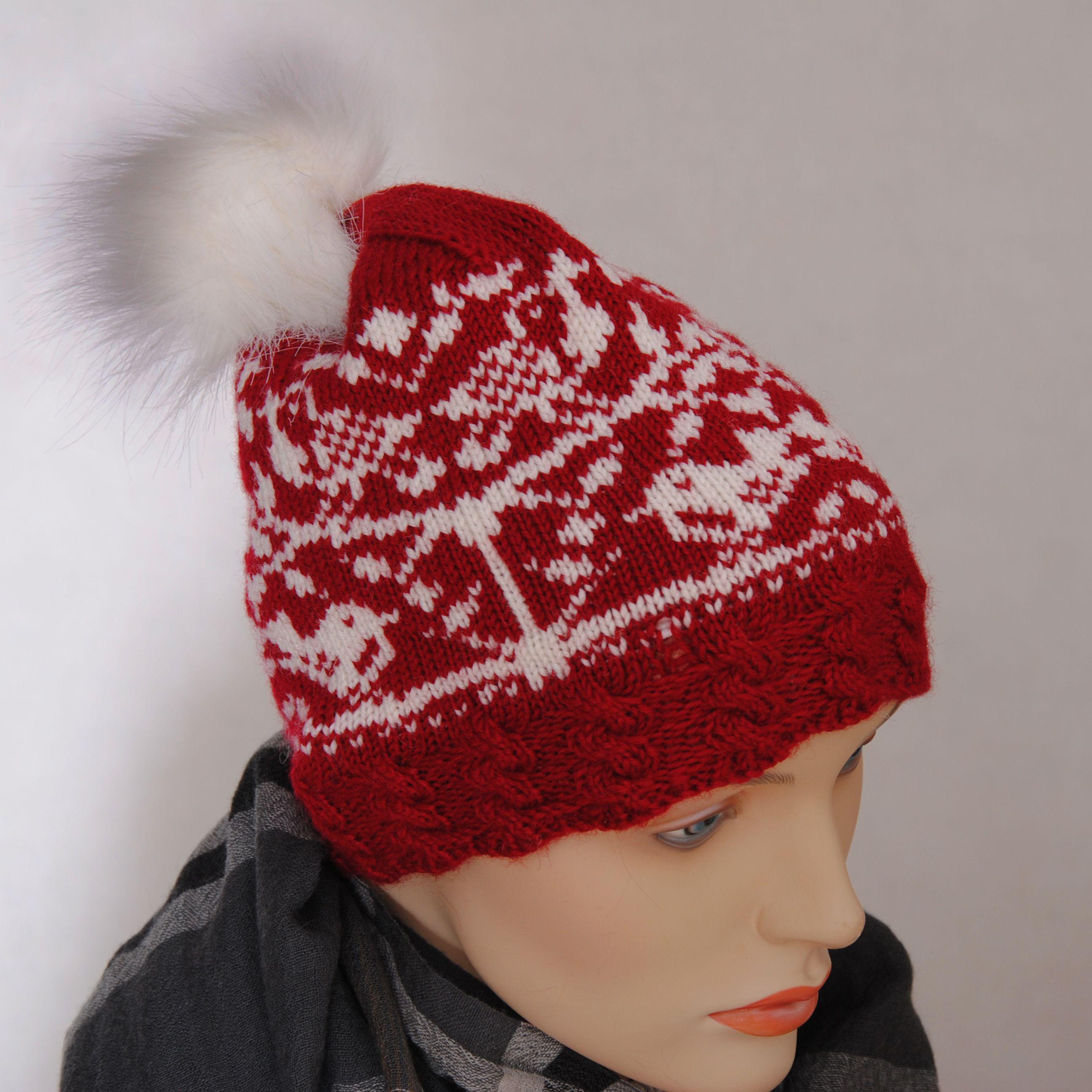 женская подарок малиновый жаккард шерсть шапка орнамент купить вязаная белый меринос