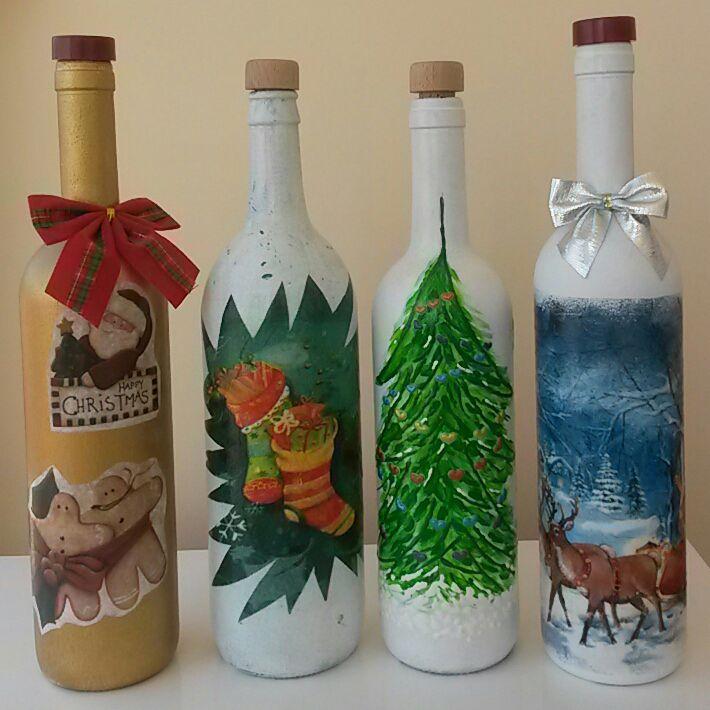 бутыль бутылки ёлка новыйгод декупаж снежинки дедмороз пряничныечеловечки