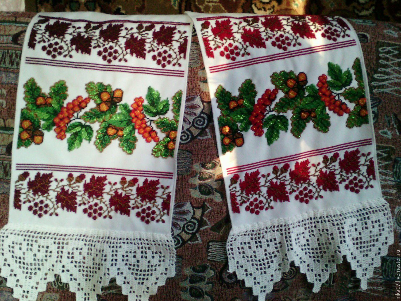 вышивка свадебный кружево рушник свадьба крючком бисером подарок