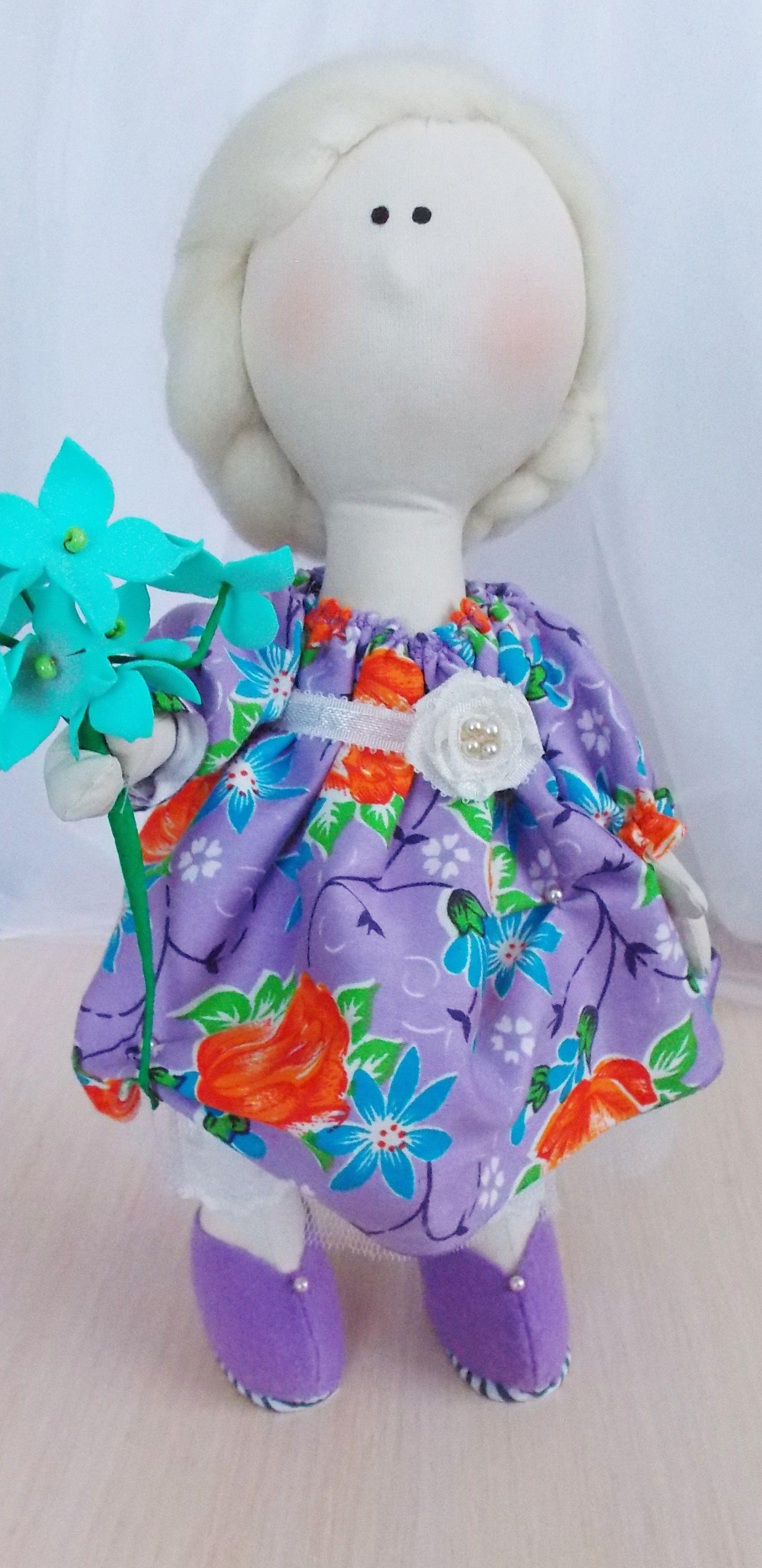 девочке блондинка большеножка игрушка кукла интерьерная сиреневый текстильная подарок