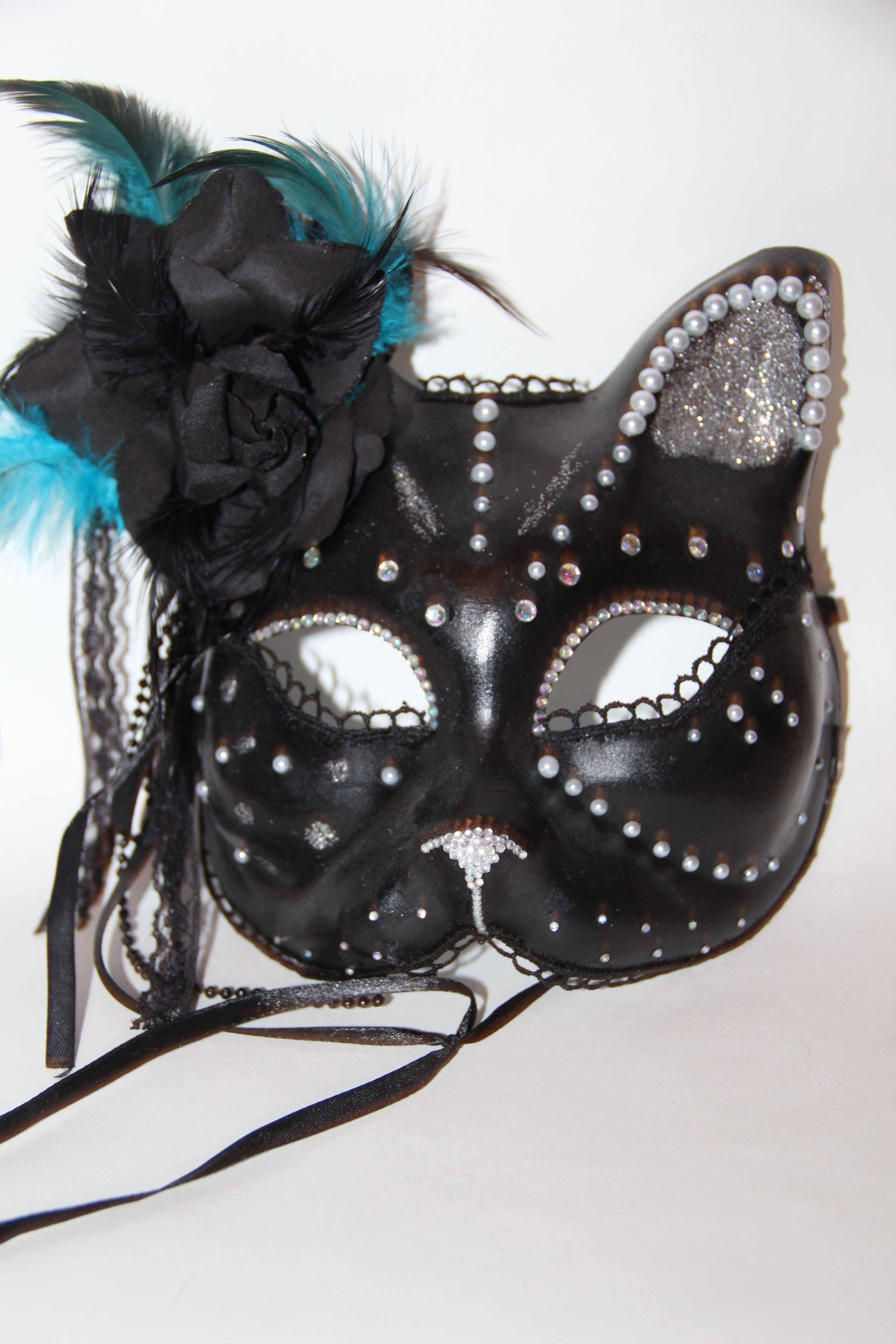 венеция венецианскаямаска кот блестки маска кошка кружево перья перо голубой черный