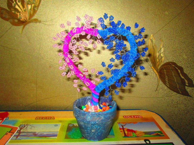 любви свадьбу дерево бисер сувенир любовь на подарок