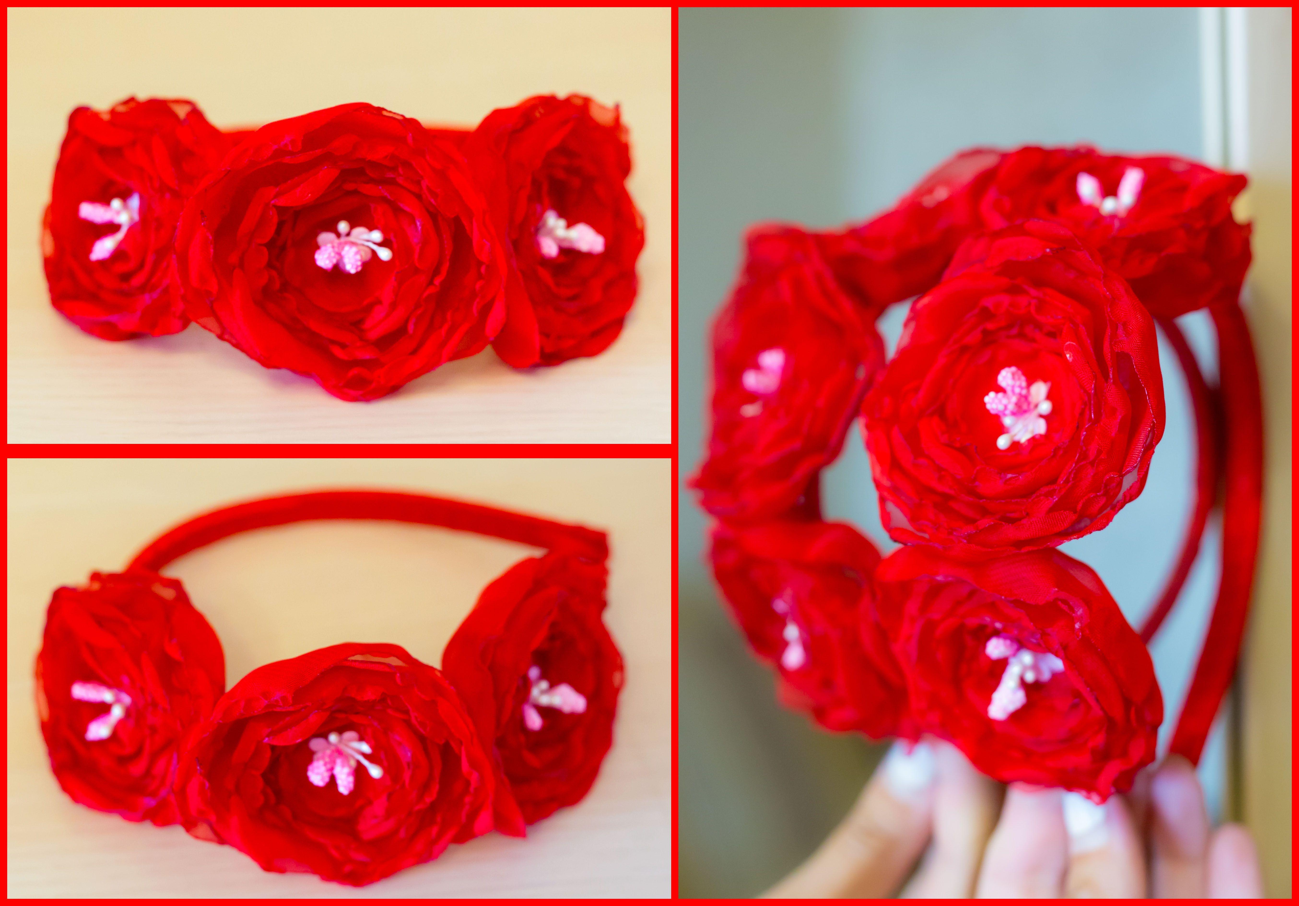 красивый свадебный шифон ободок атлас обруч красный цветы
