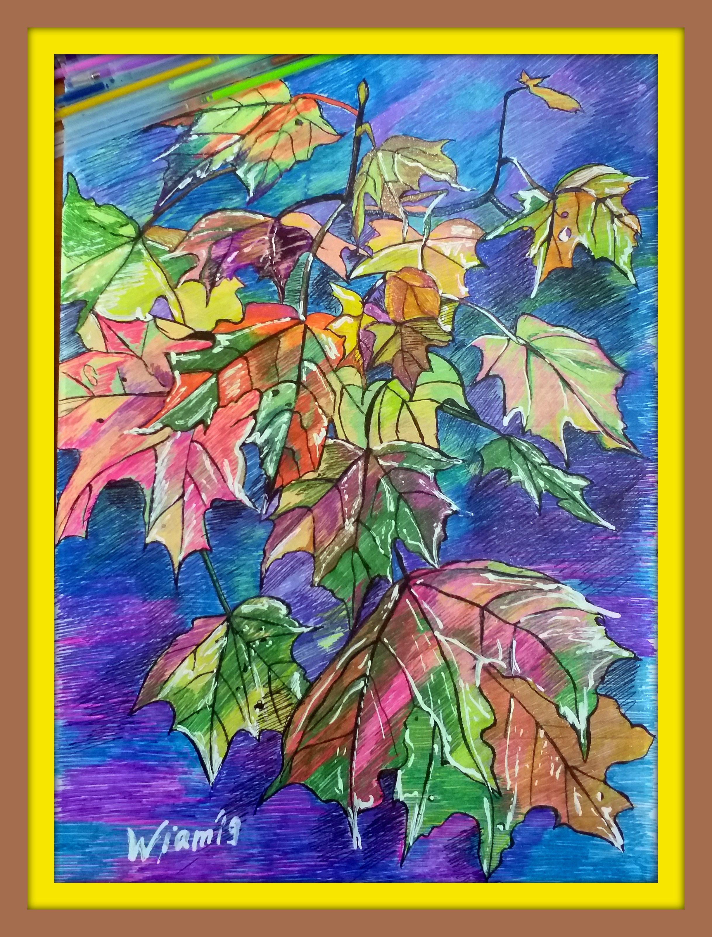 ручки деревья рисунок гелевые клен цветные