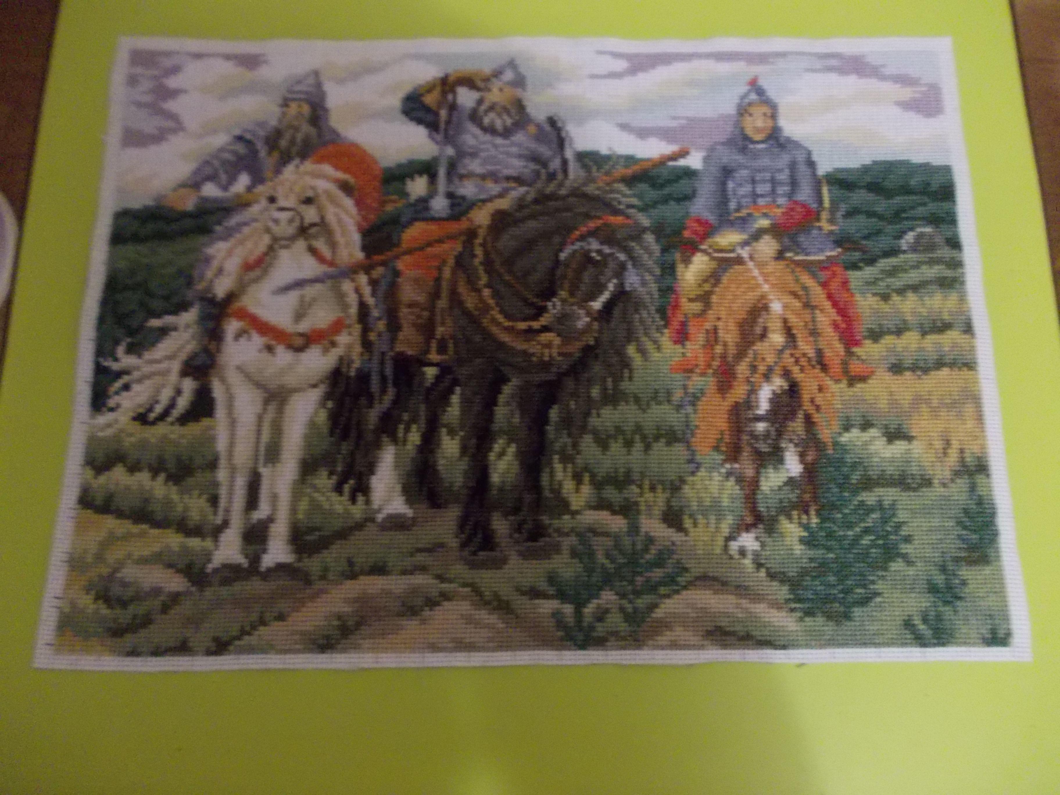 богатырякартина крестом репродукция три вышивка в картина подарок