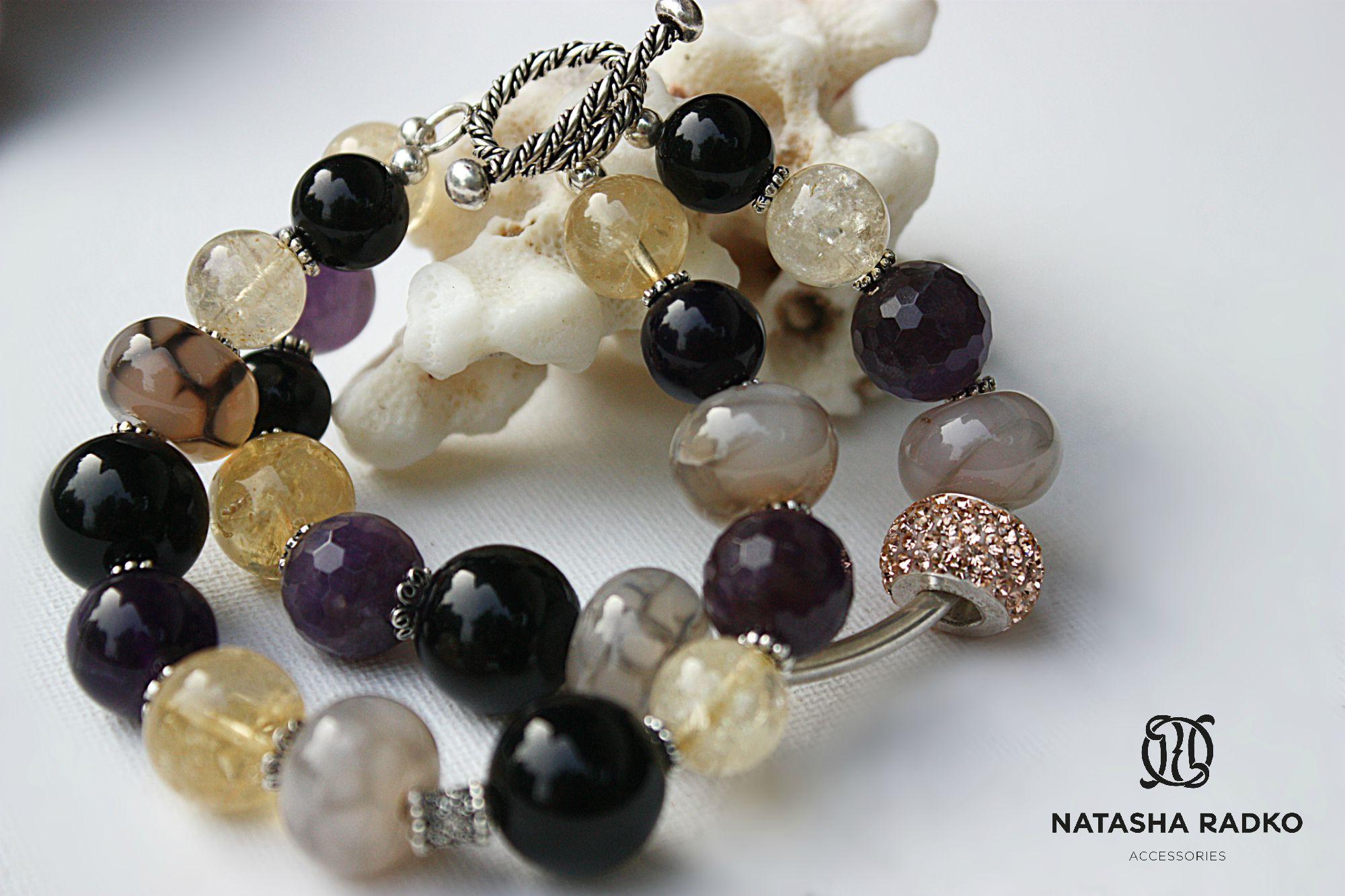 цитрин украшение браслет агат натуральные аметист серебро камни подарок