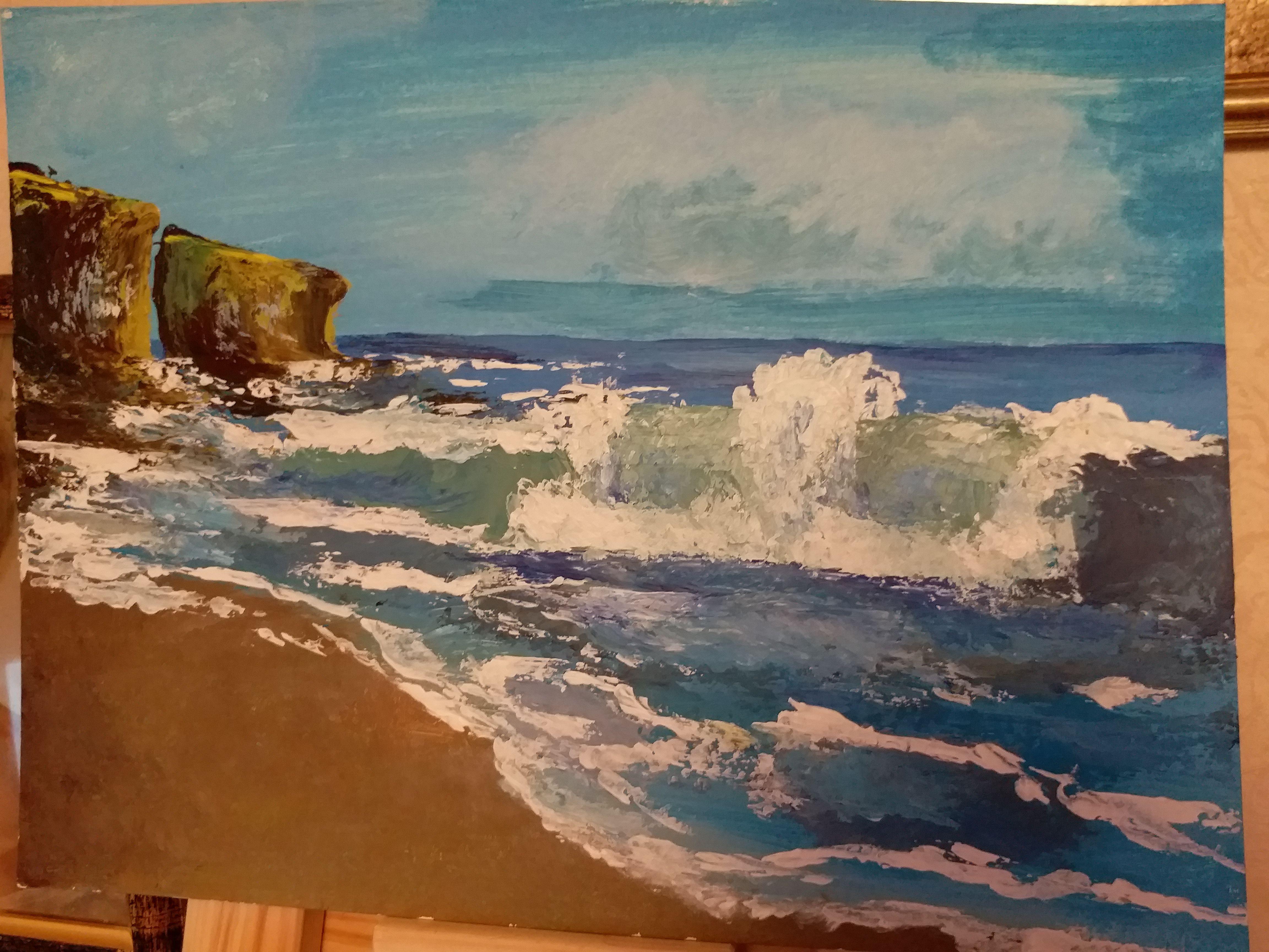 картина акрил волна море