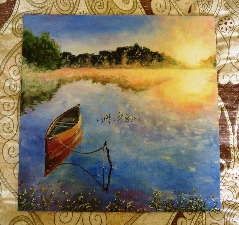 холст лодка пруд подарок природа масло картина живопись живописьмаслом утро