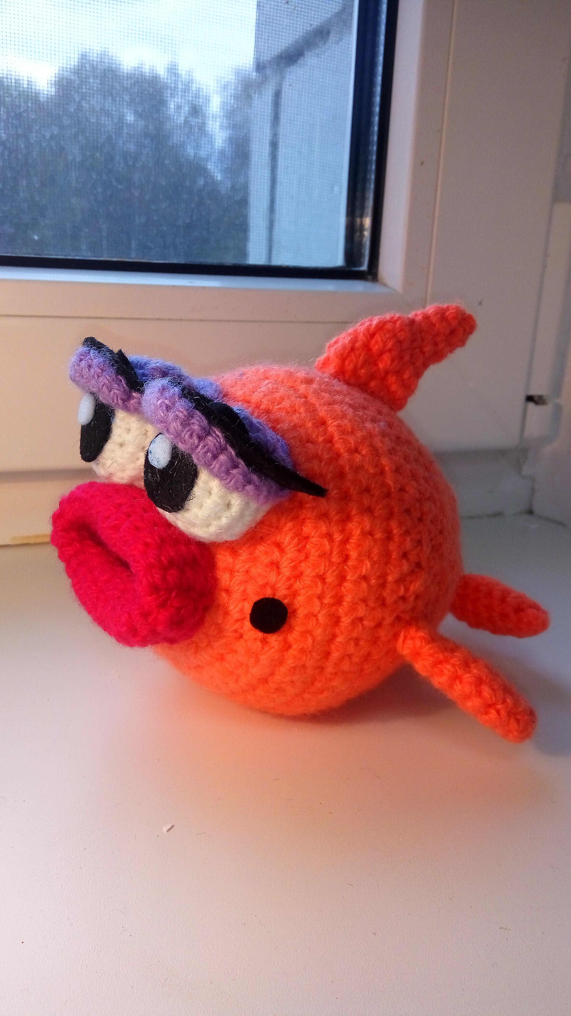 игрушка рыбка детям мягкая handmade вязаная ручной работы