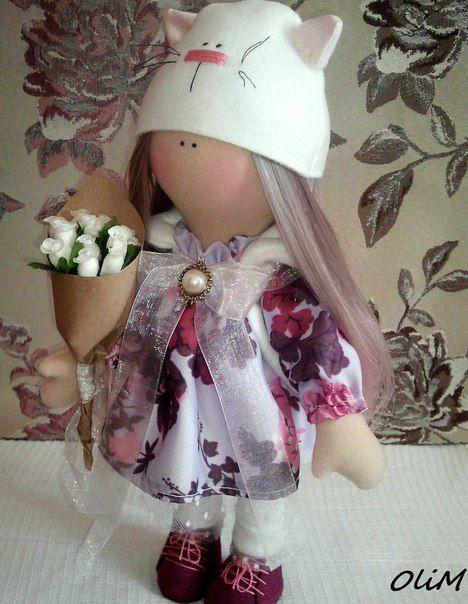кукларучнойработы куклавшапке шелковоеплатье розы интерьернаякукла розовый интерьернаяигрушка подарок