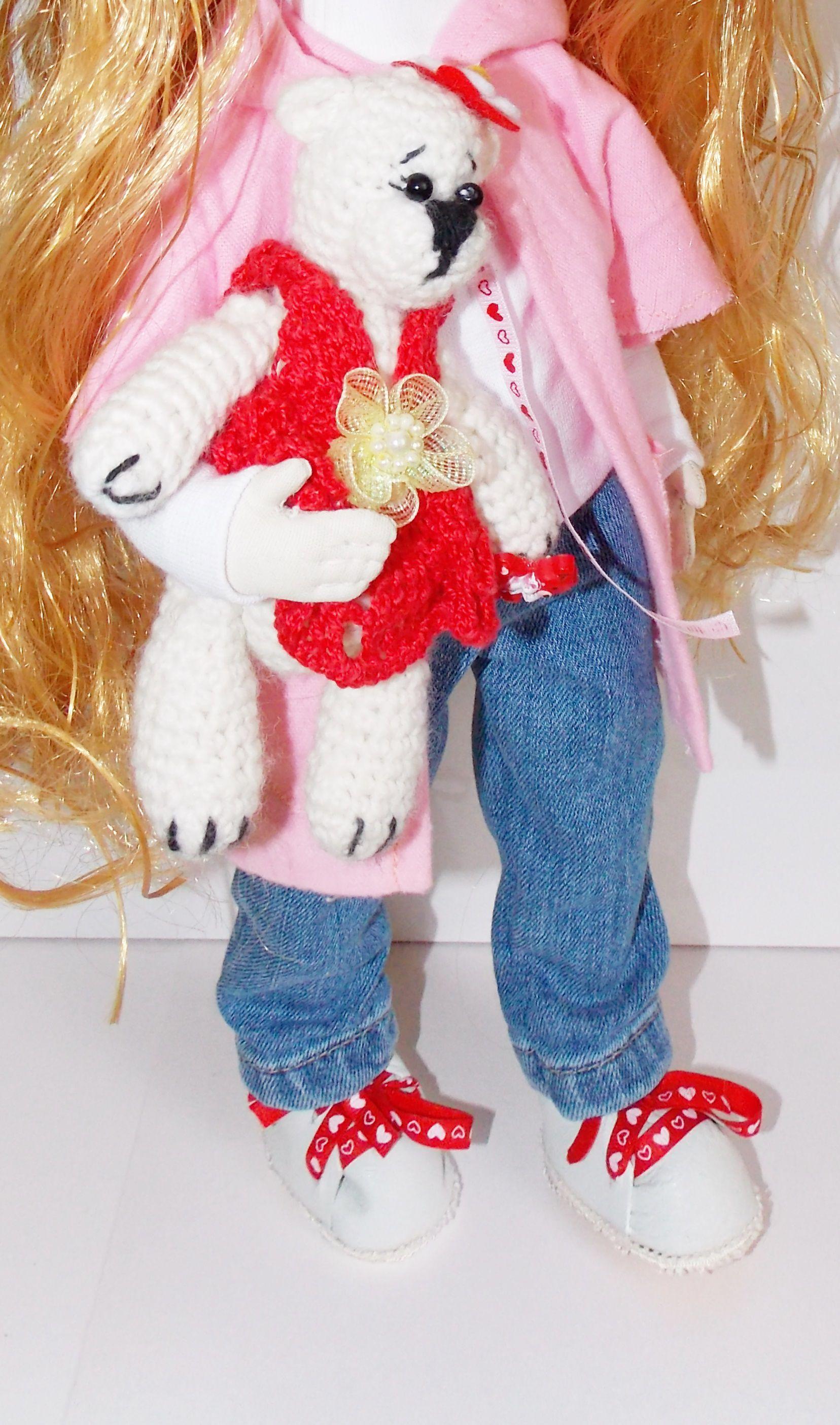 интерьерная вязаный мишка кукла золотые длинные волосы текстильная