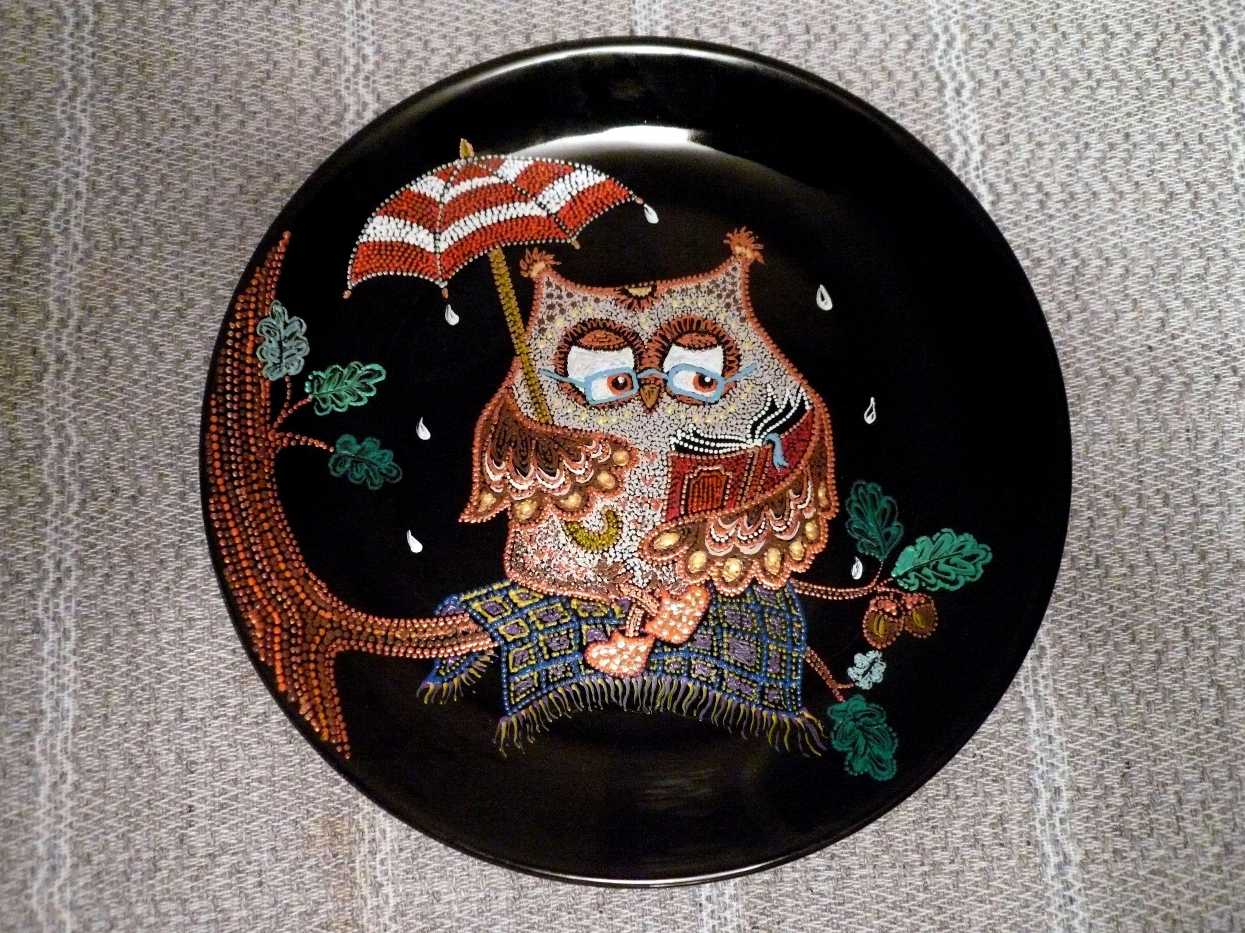 сказка декоративнаятарелка тарелка точечнаяроспись handmade декор сова ручнаяработа птицы подарок