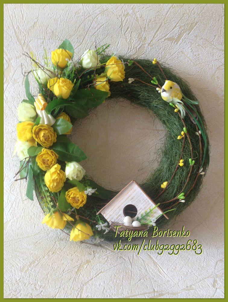 подарок весенний на интерьерный украшение дверь венок радостный