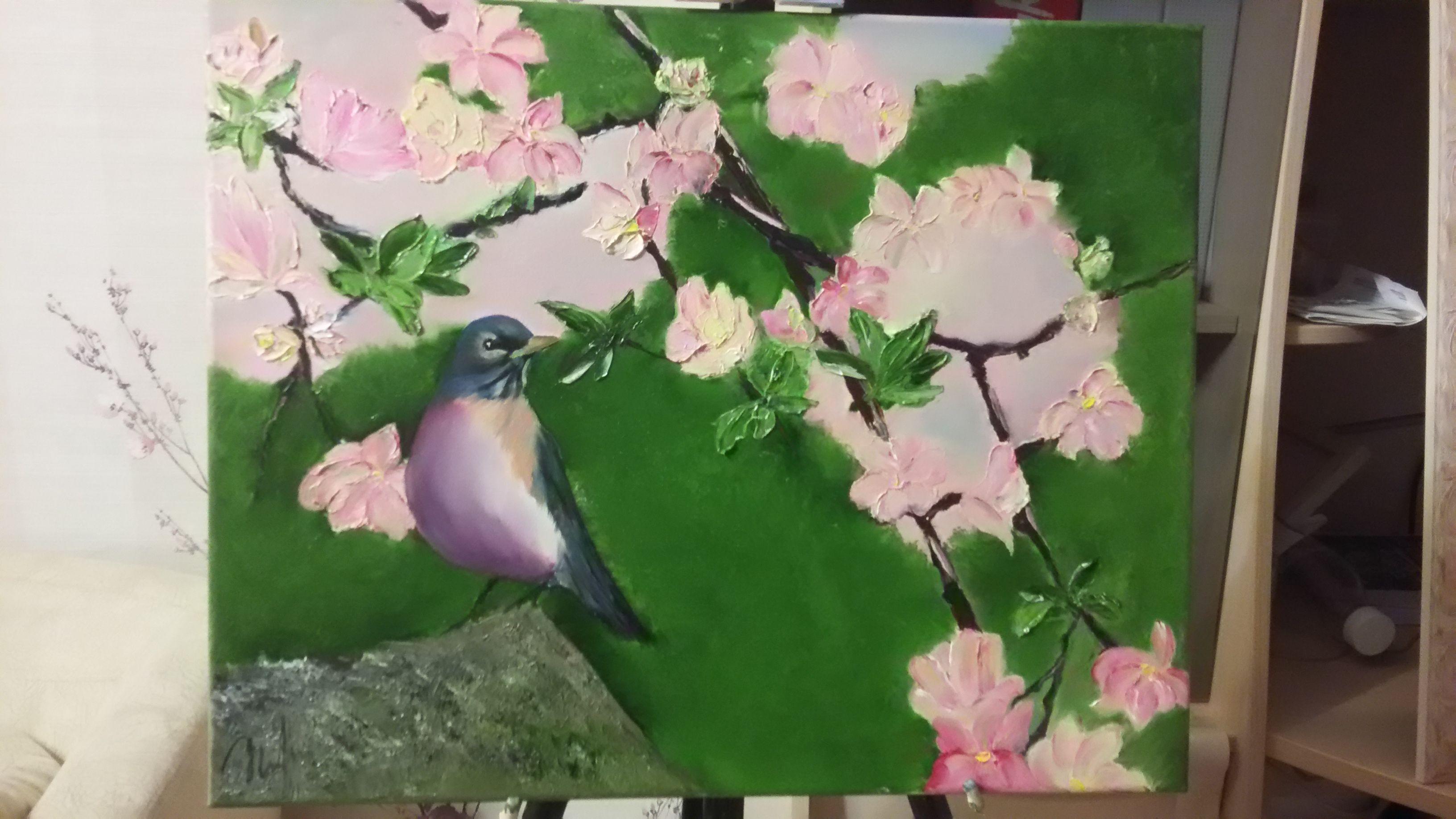цветы птицы яблоня краска весна масляная феншуй искусство картина