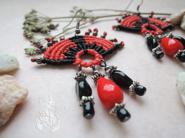 ручнаяработа украшениеназаказ подарок эксклюзивное серьги стильное бохо красное украшения