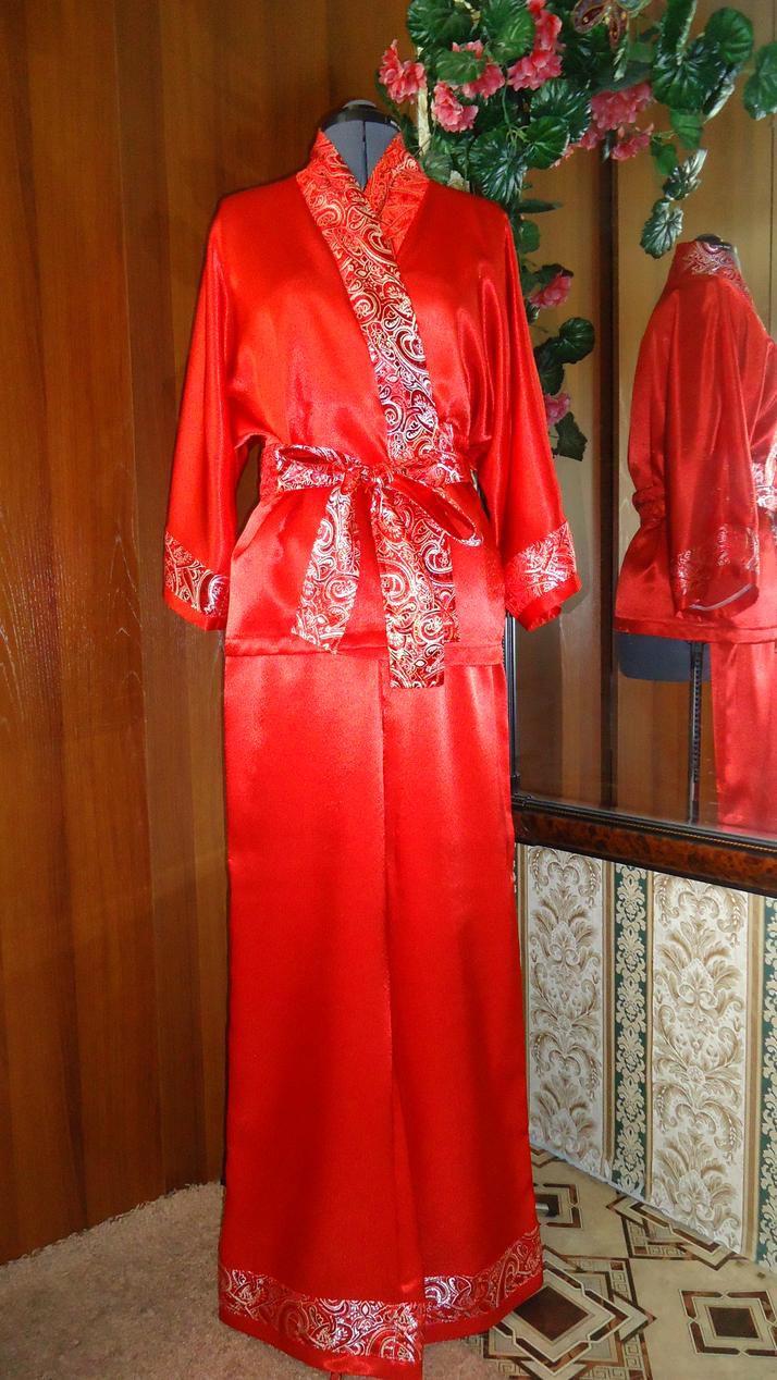 домашний парча костюм атлас одежда