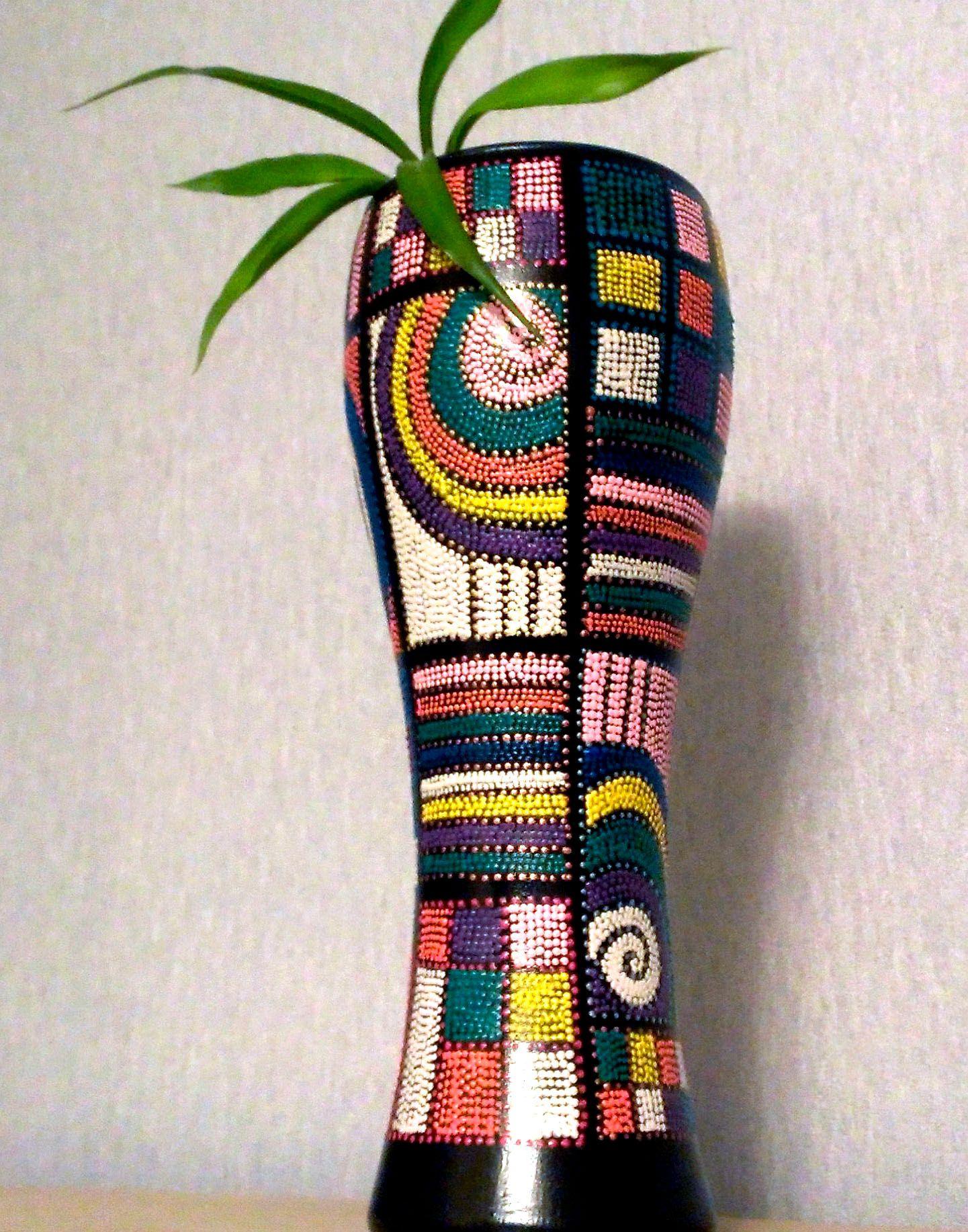 ручнаяработа подарок декоративнаятарелка декор точечнаяроспись тарелка ваза handmade узоры джаз декоративнаяваза цветы