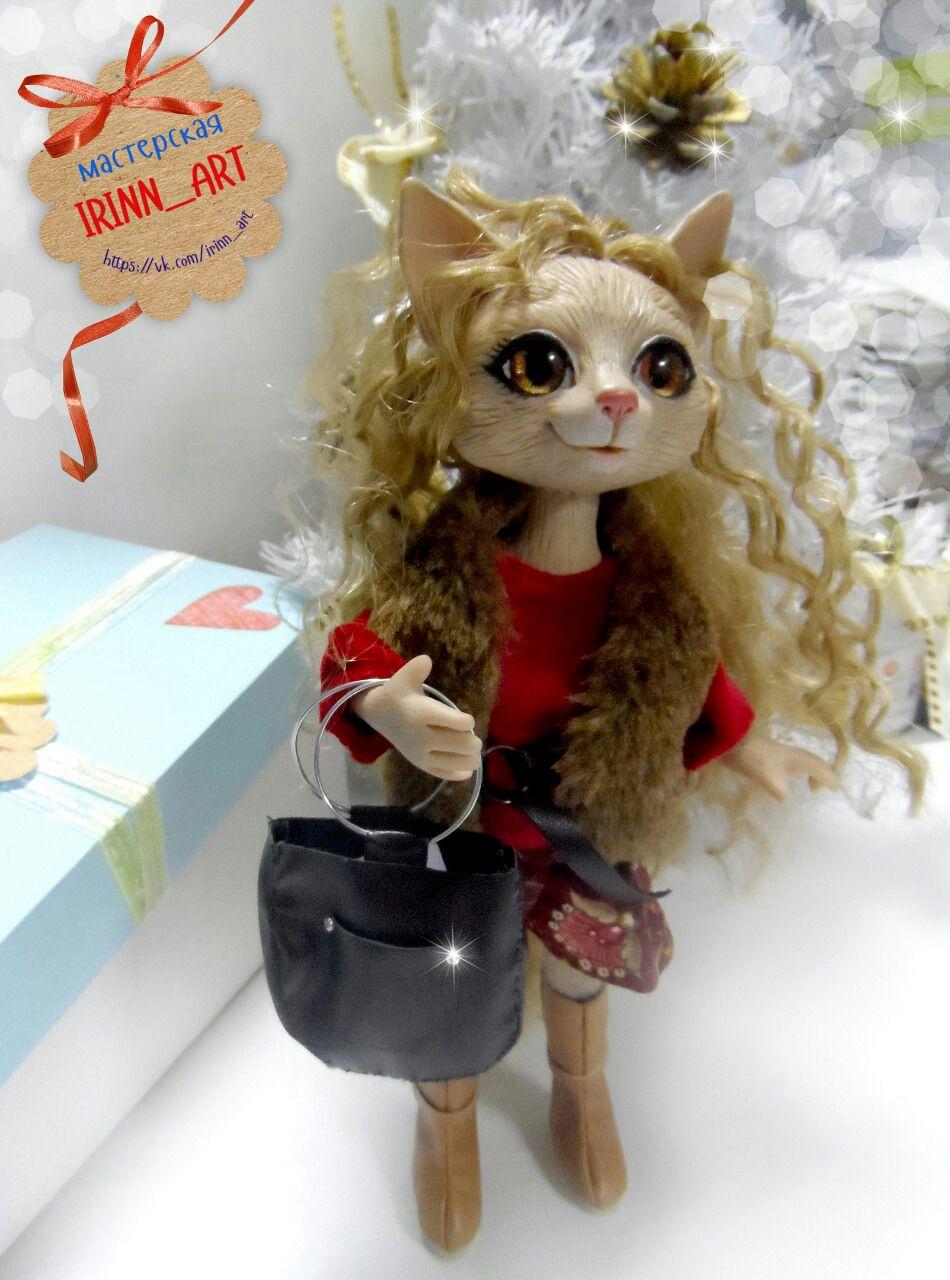 кошечка работы ручной котенок игрушка кот кукла кошка подарок