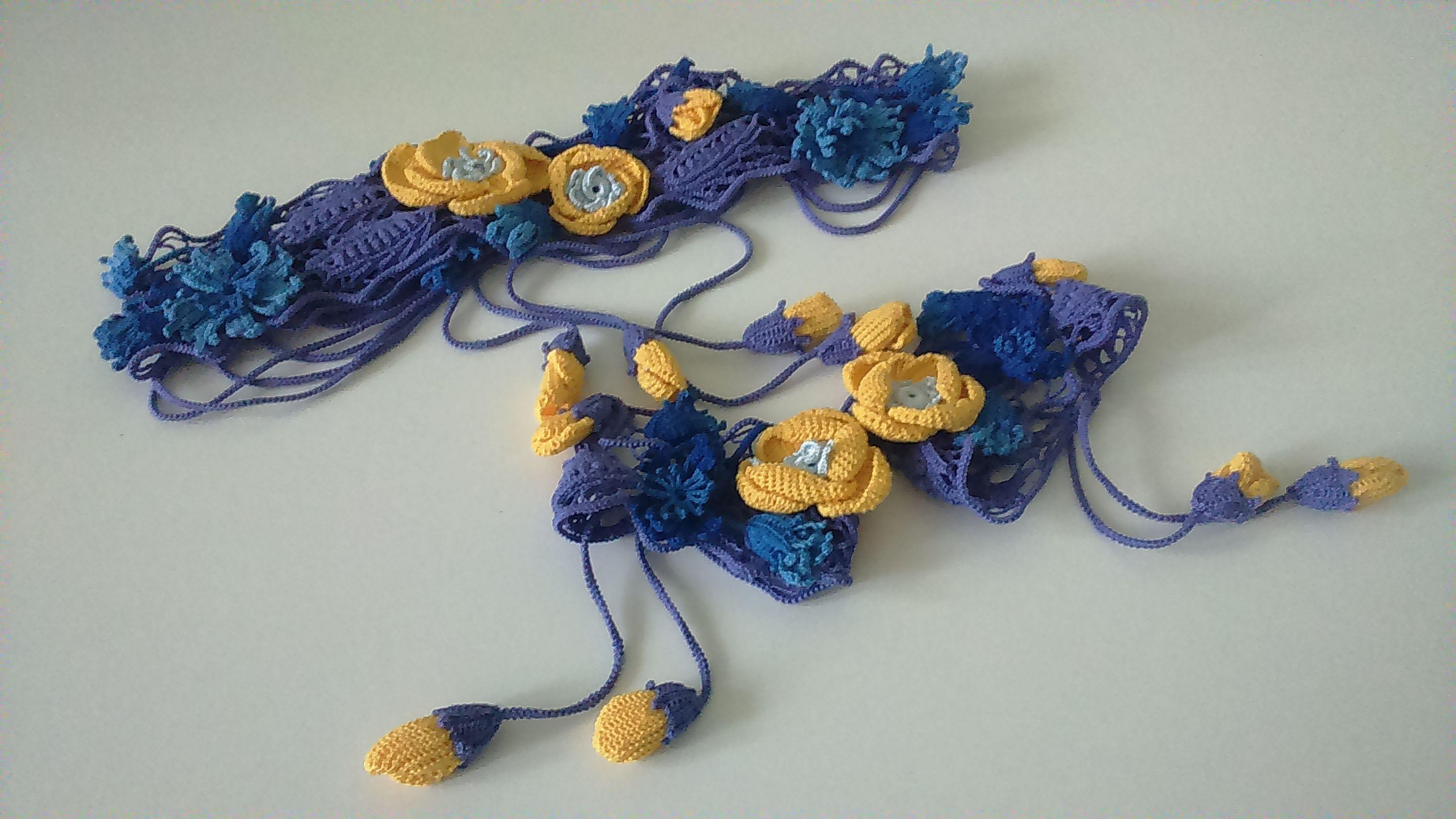 ирландское желтыемаки фиолетовый ирландскоекружево кружева тунис полевыецветы желтый пояс васильки синий хлопок тунисскоевязание цветы