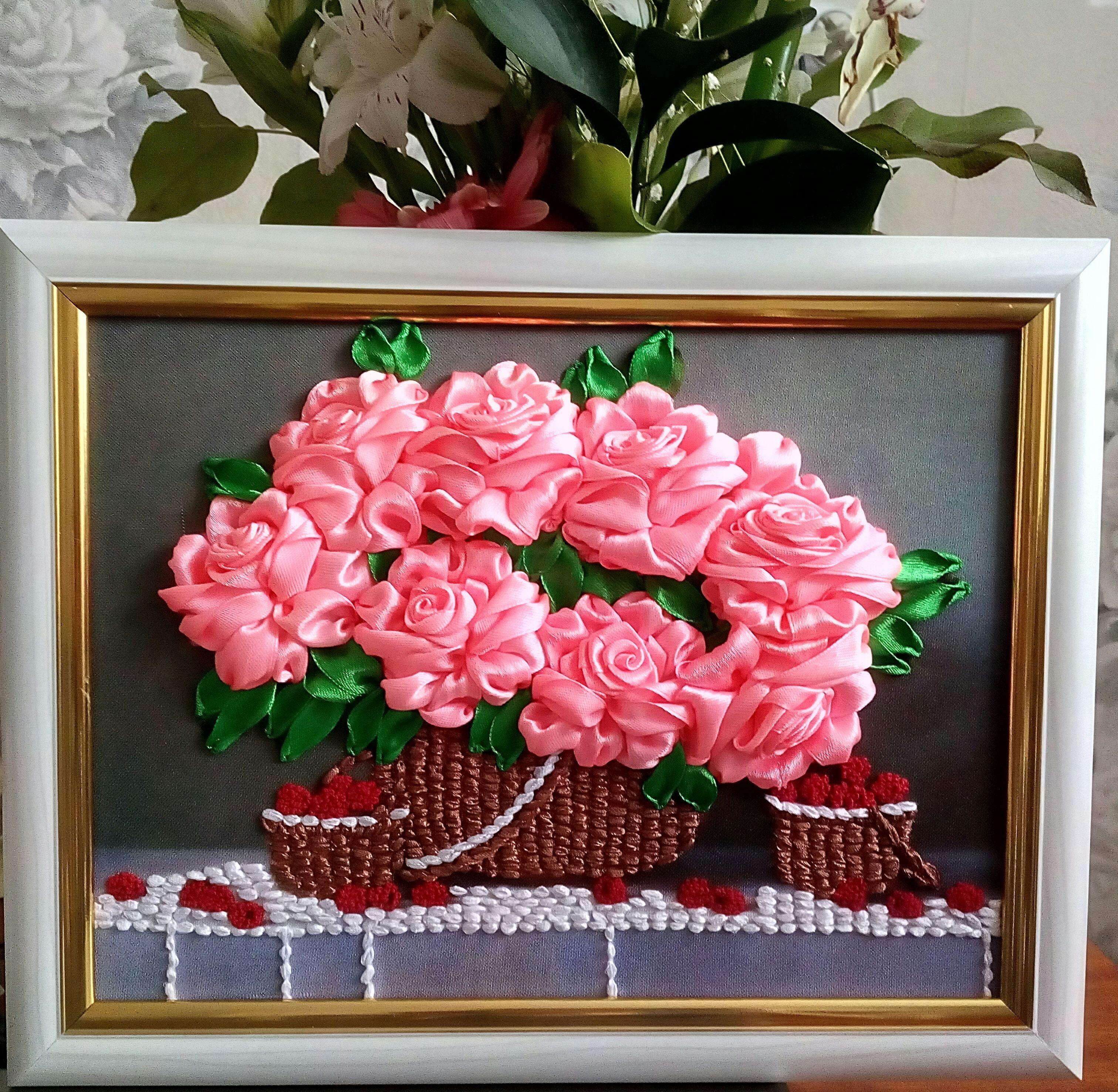 атласныеленты розы картина