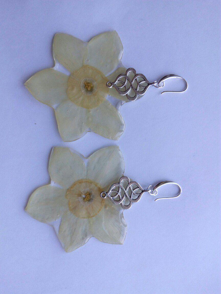 сухоцвет серьги эпоксидная живые бижутерия сережки нарцисс украшения смола цветы