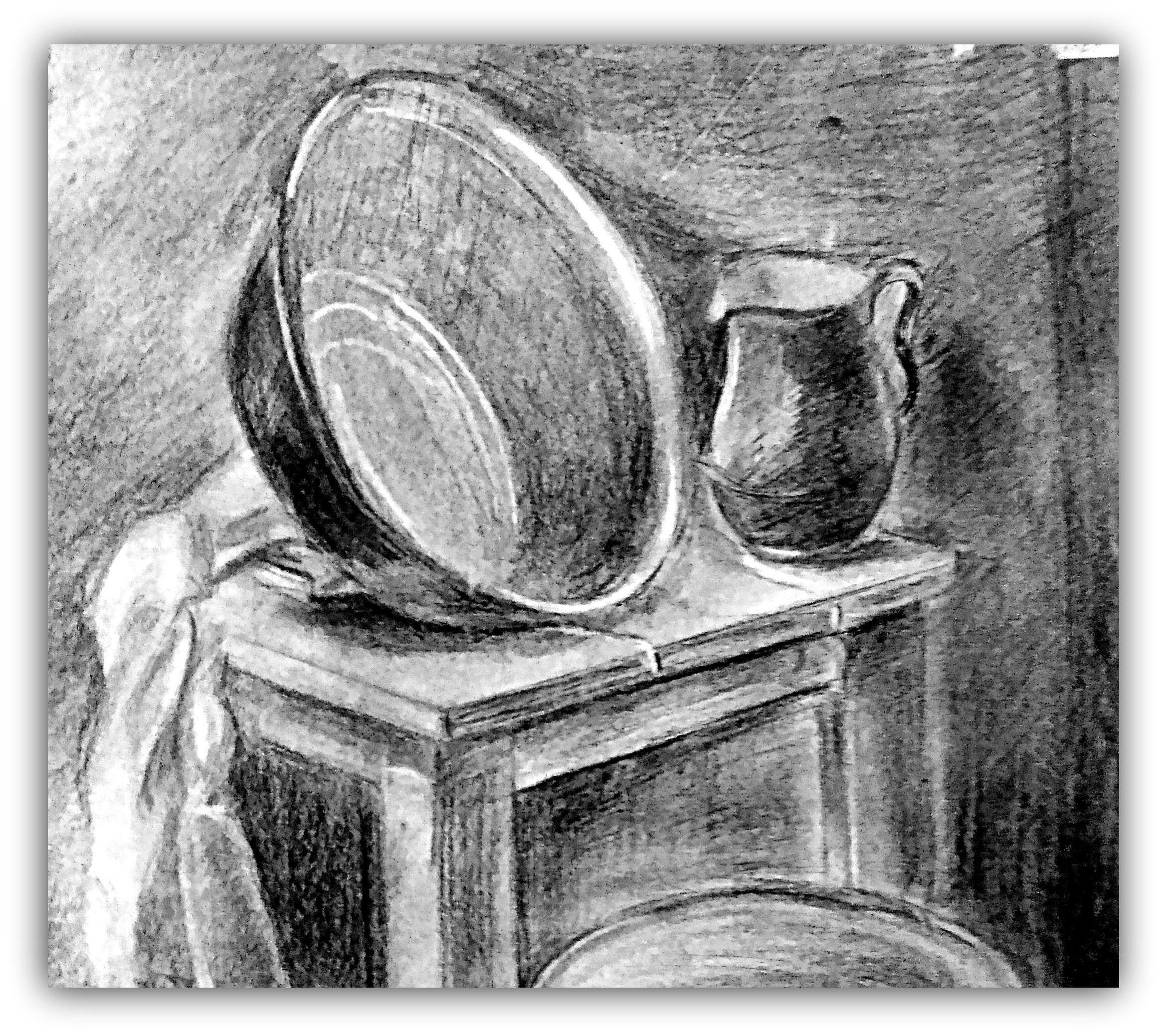 арт картина купить работа ручная материал мягкий дача продажа жизнь картины подарок уголь таз молока сельская натюрморт табурет стул крынка