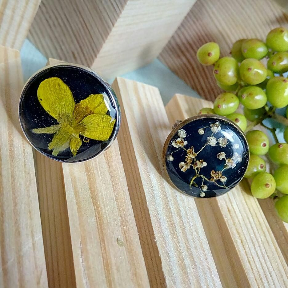 кольца подарок сухоцветов гербарий эпоксидка кольцо украшения цветы