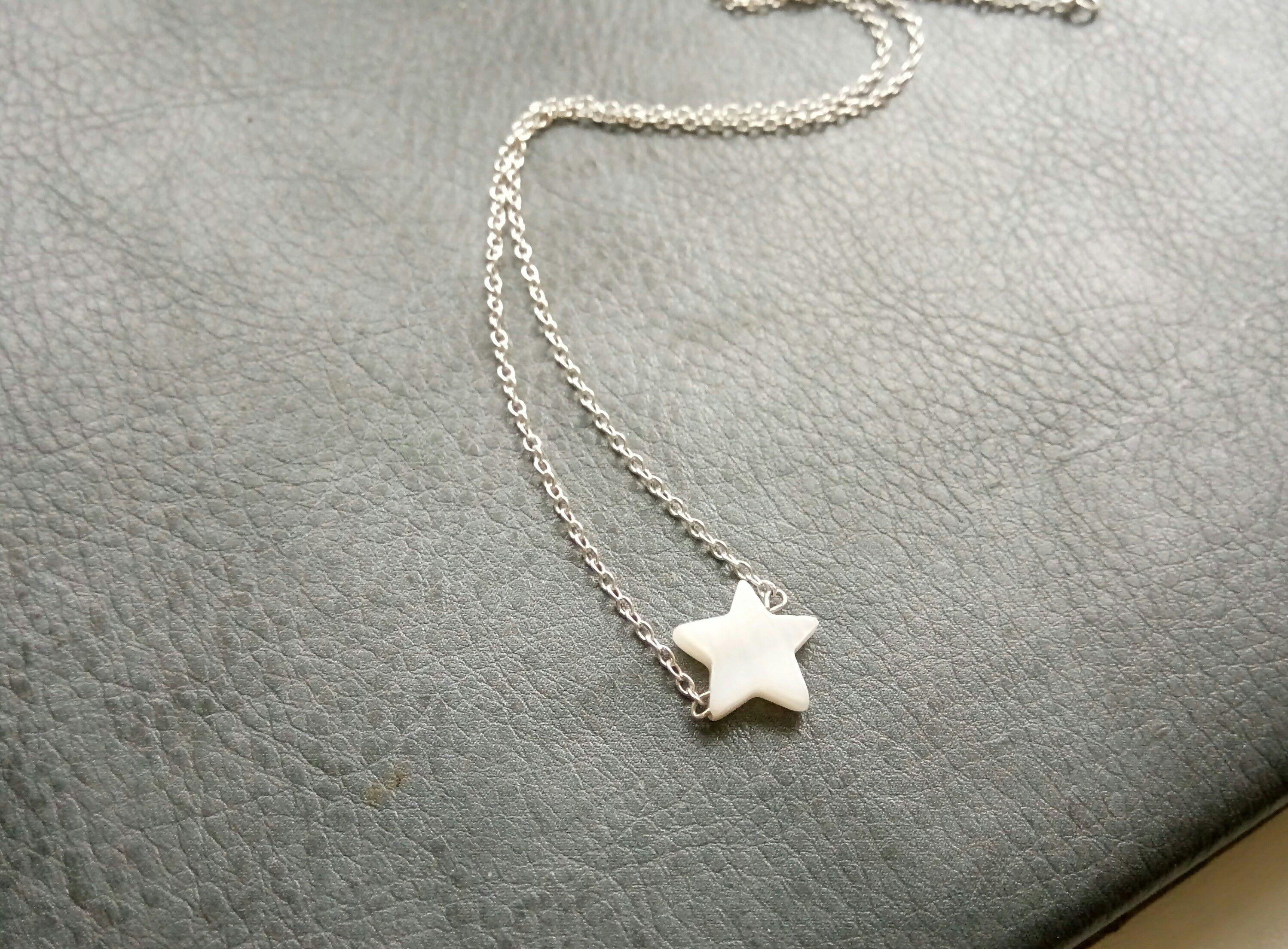 звезда белый перламутр кулон