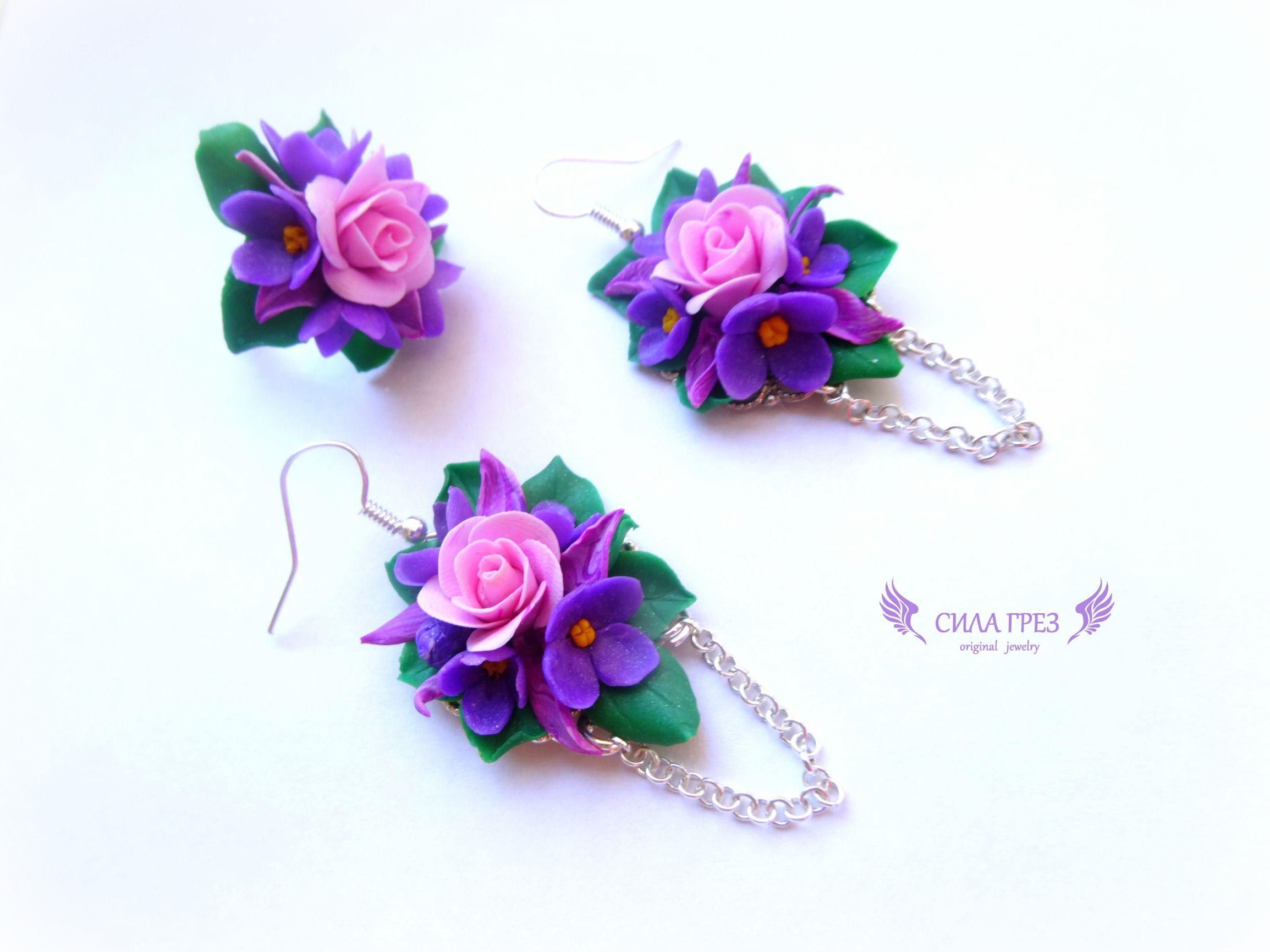 полимерная глина подарок серьги грез сила прованс кольцо весна розы цветы миниатюра бижутерия