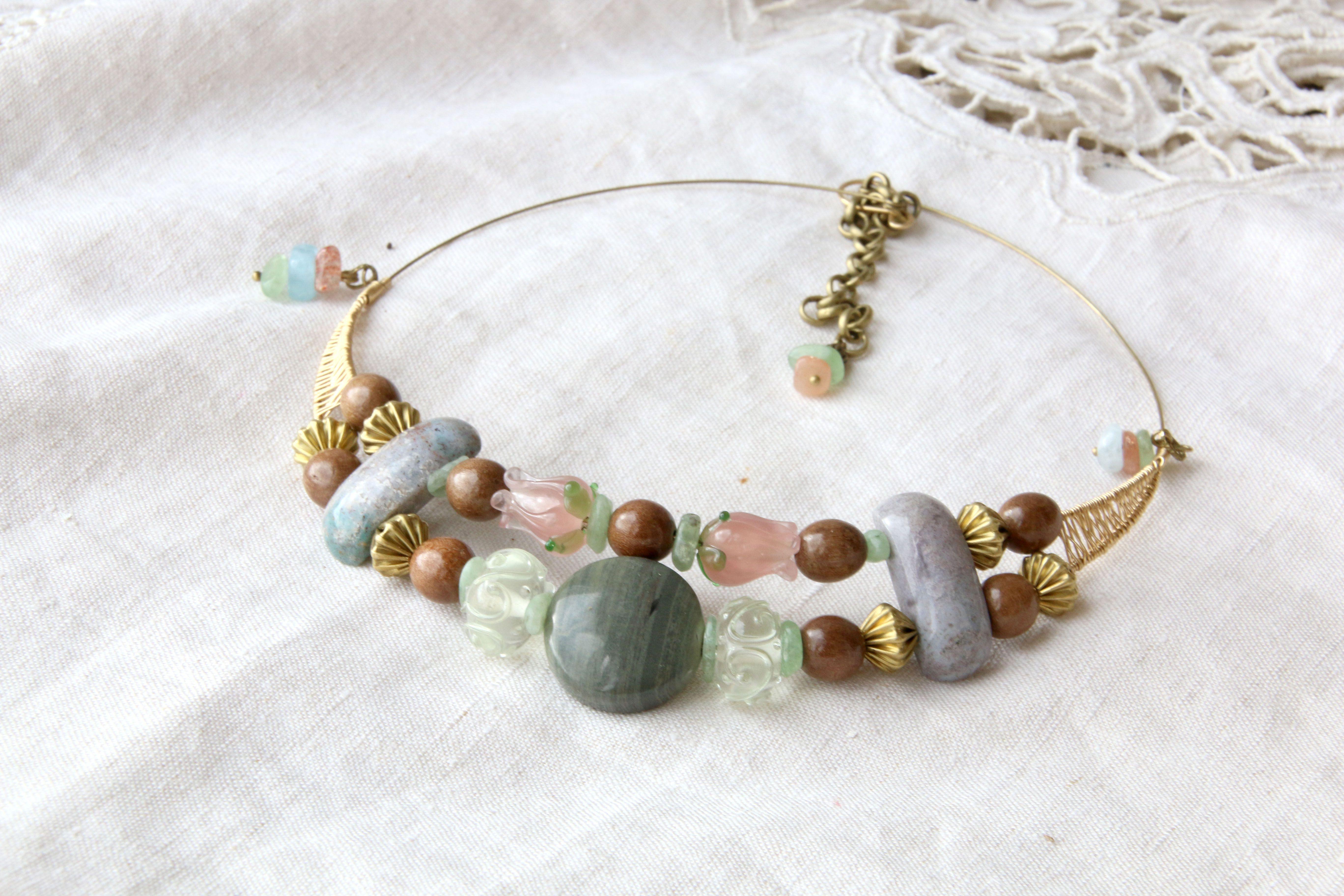 грозди оливковый цветение натуральные весенний лэмпворк ожерелье розовый зеленый голубой