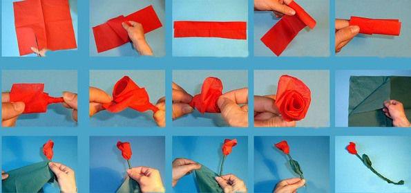 Фото как сделать розу из салфеток бумажных
