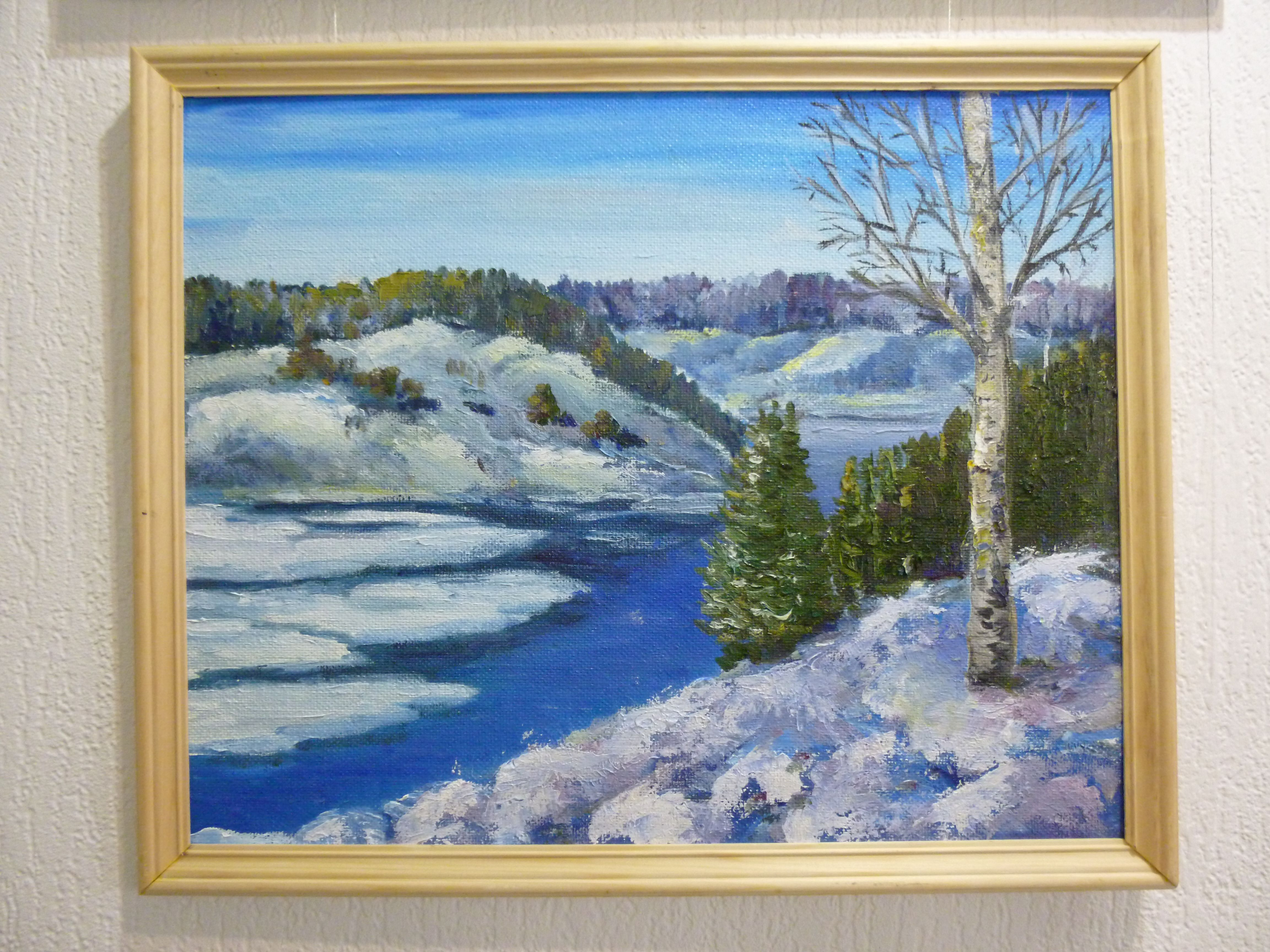 снег сопки голубой лес лед зима вода тает береза