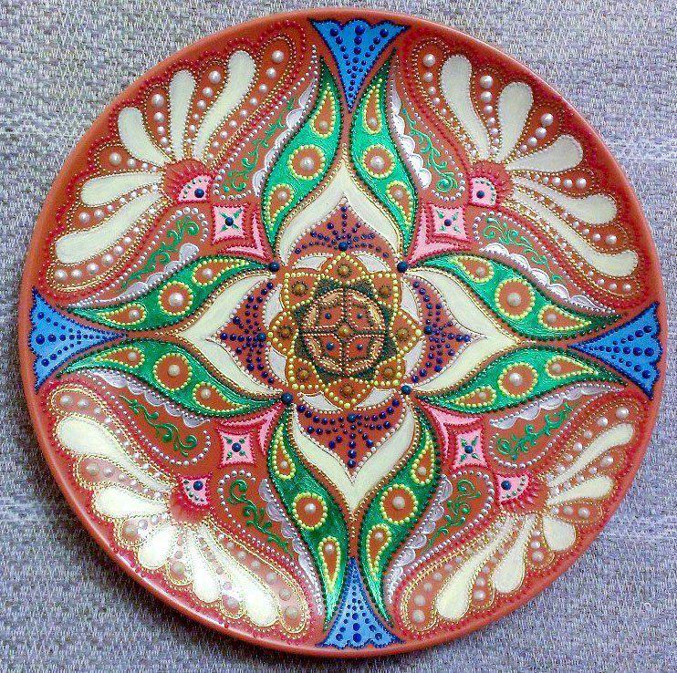 ручнаяработа восточныеузоры декоративнаятарелка декор точечнаяроспись тарелка сказкикиплинга handmade подарок