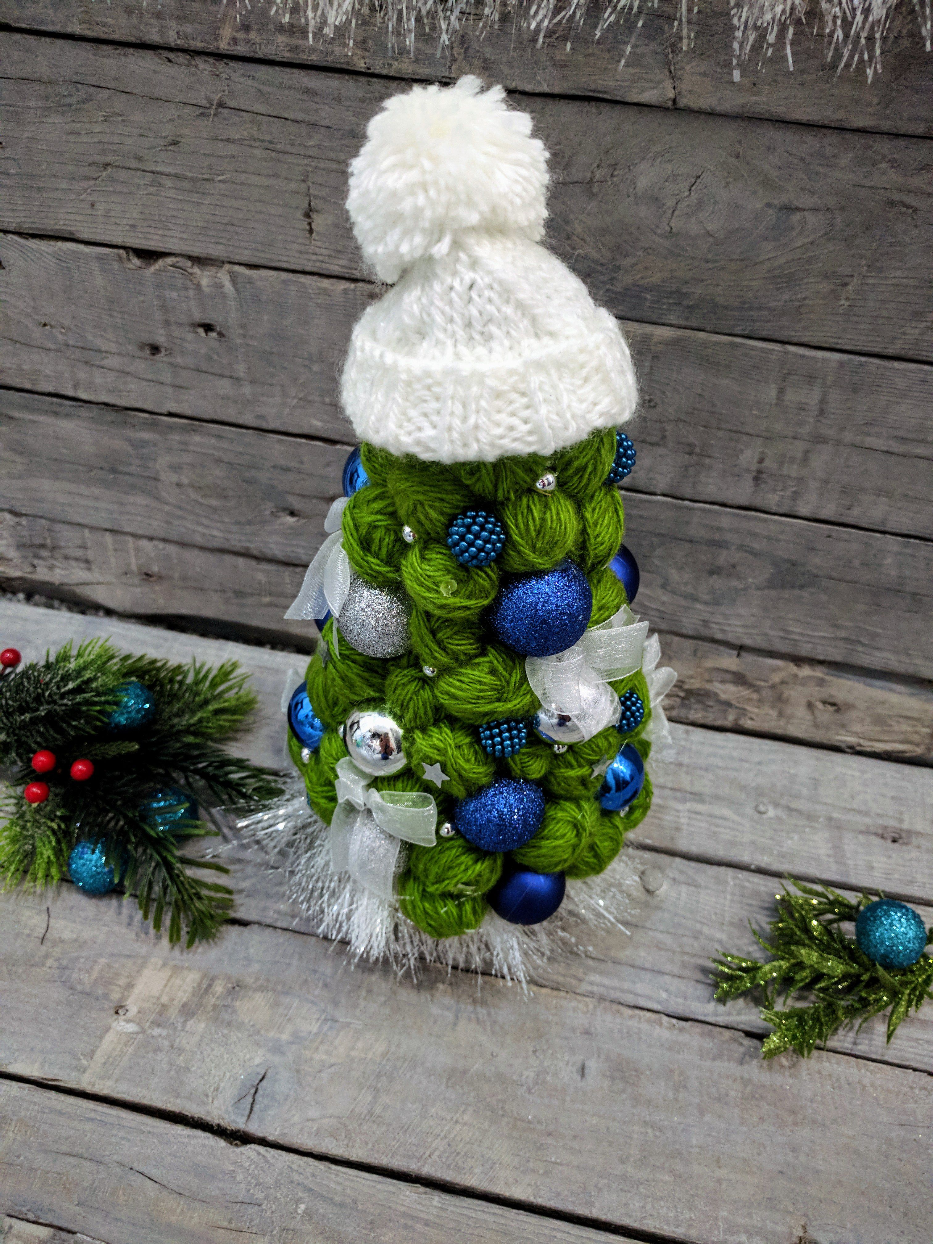 фоамиран топиарий елка новыйгод пряжа подарок