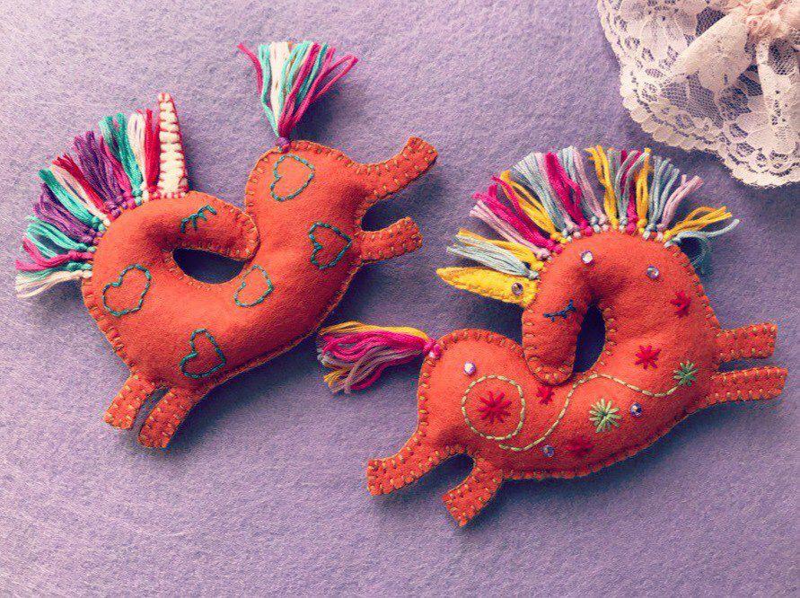 bogiboo handmade магнит изделиеизфетра карманныйдруг единорог подвеска позитив сувенир украшение ручнаяработа фетр подарок