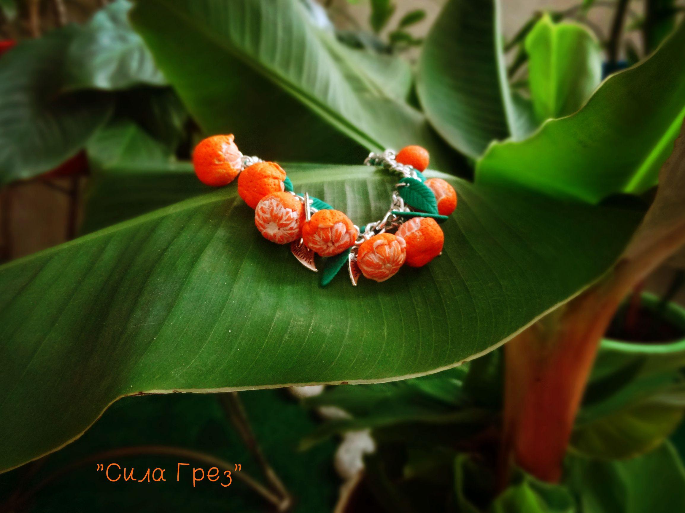 полимерная глина подарок браслет работа год ручная новый мандарины у3крашение сувенир оранжевый
