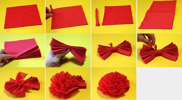 Цветы из салфеток своими руками 7