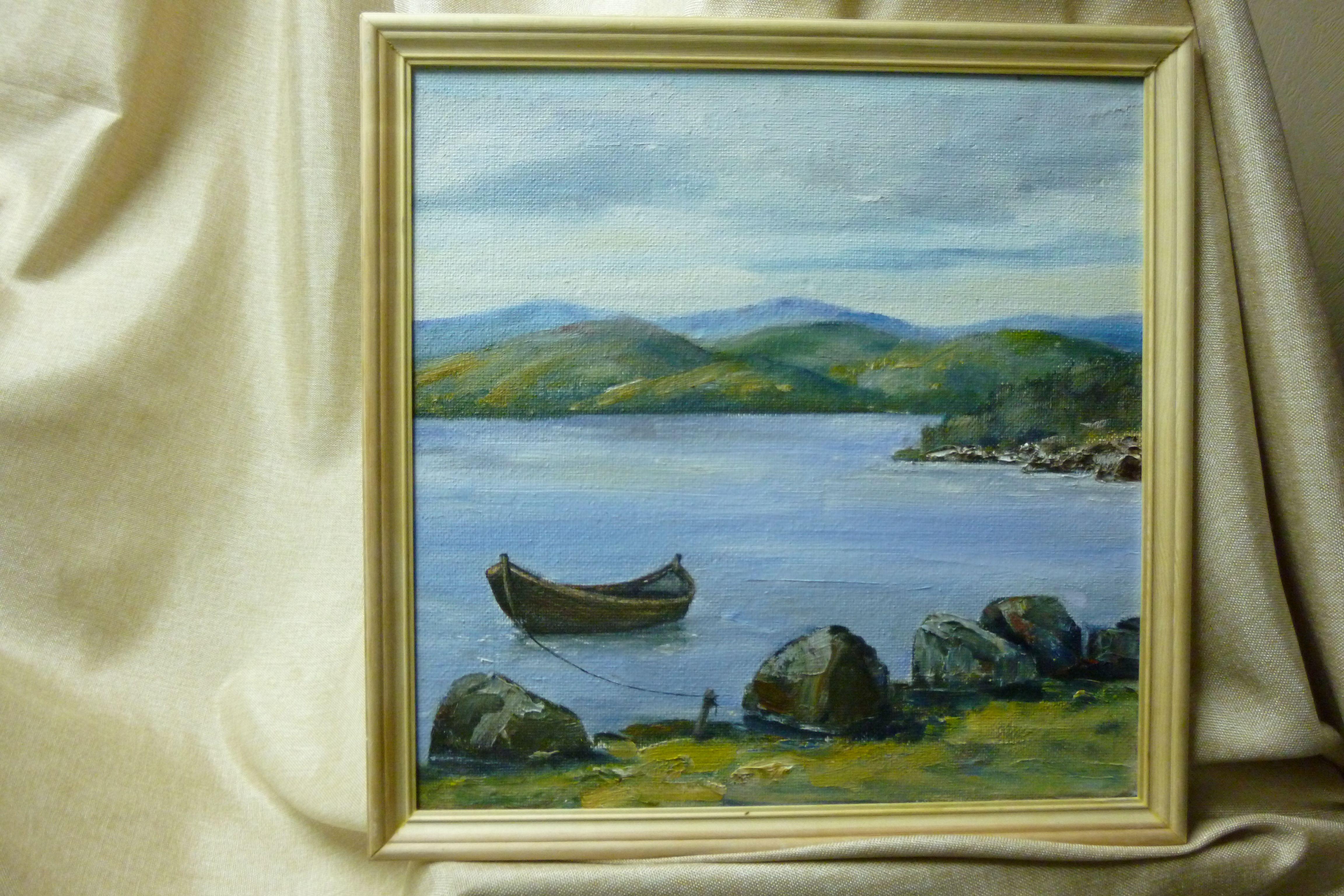 пейзаж картинамаслом зеленый север море берег лодка сопки камни голубой