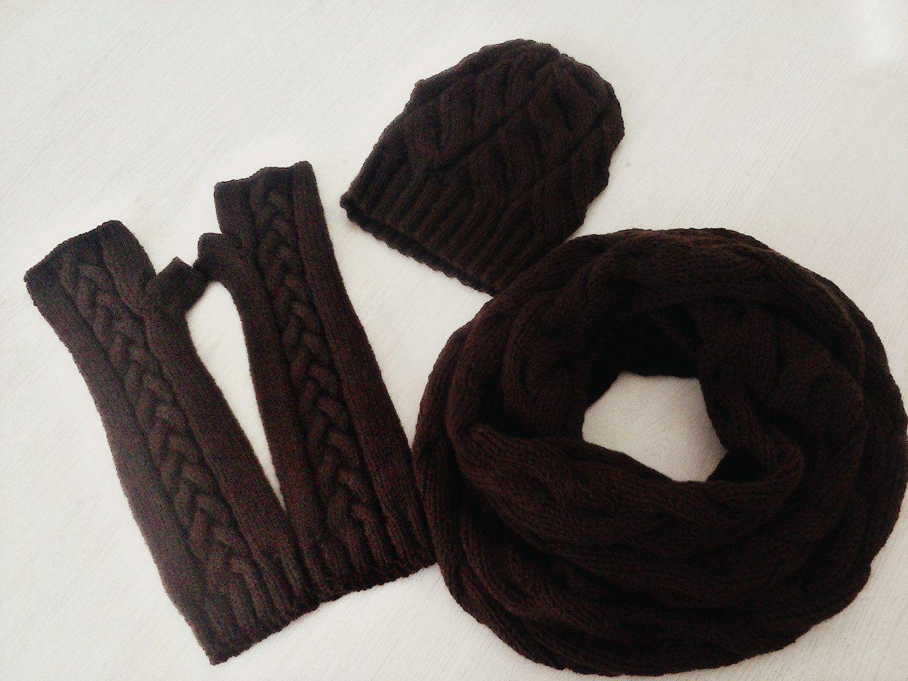 вязание комплект шапочка митенки заказ аксессуары снуд спицы