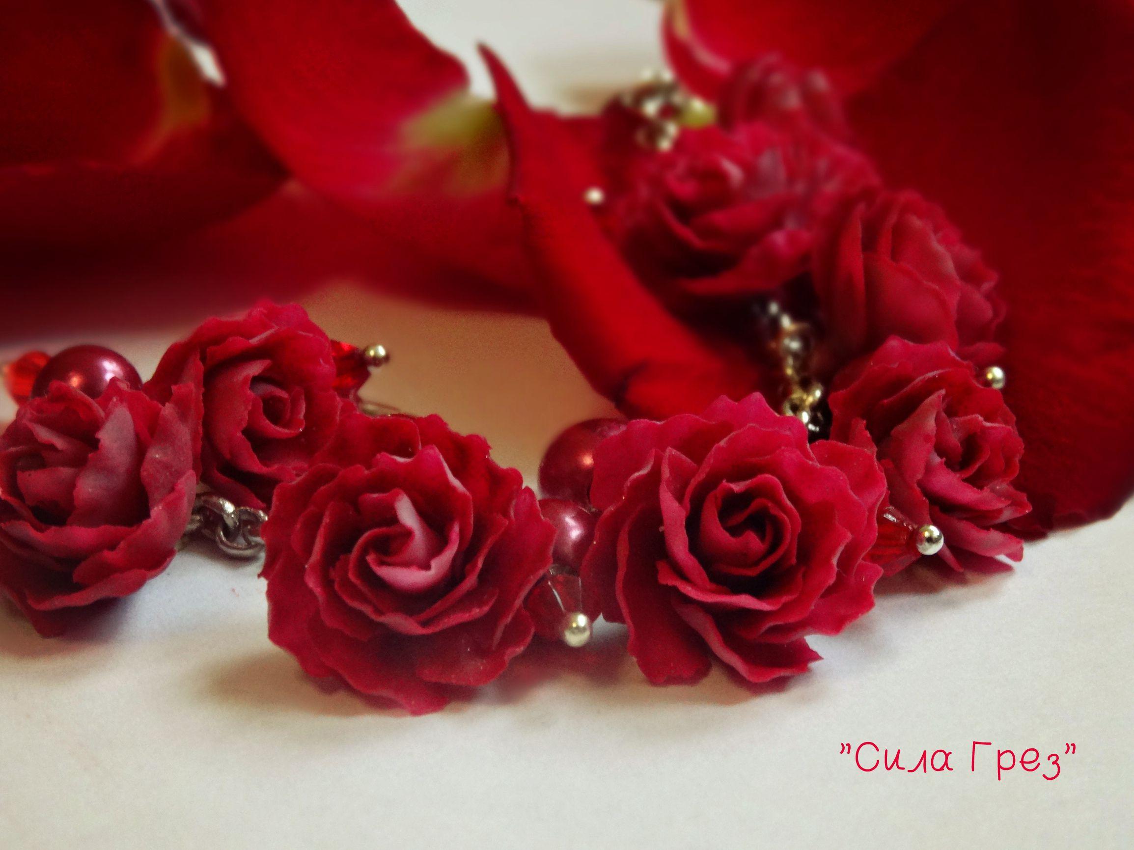 глина подарок браслет поимерная украшение красный аксессуар розы бордовый