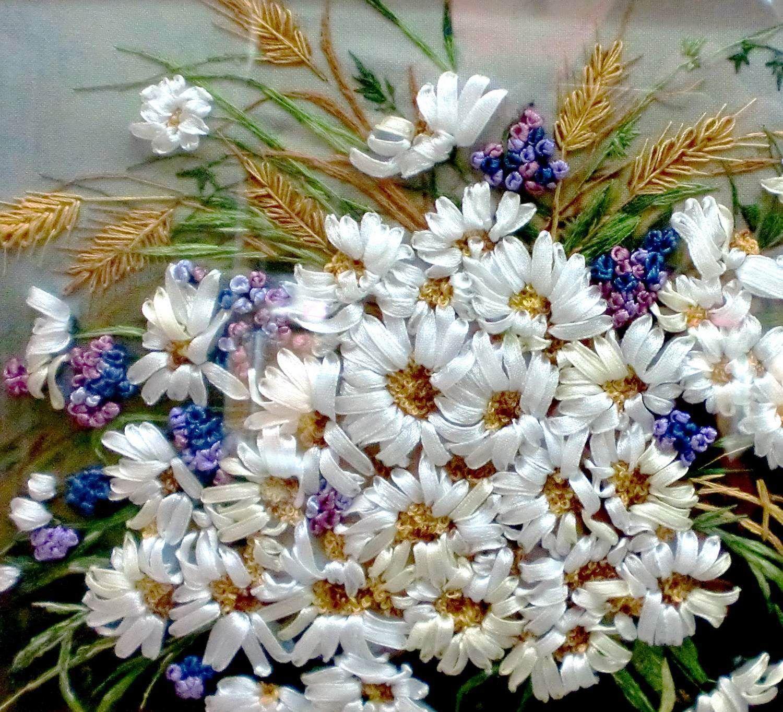 лентами мастеркласс вышивка рукоделие картины цветы