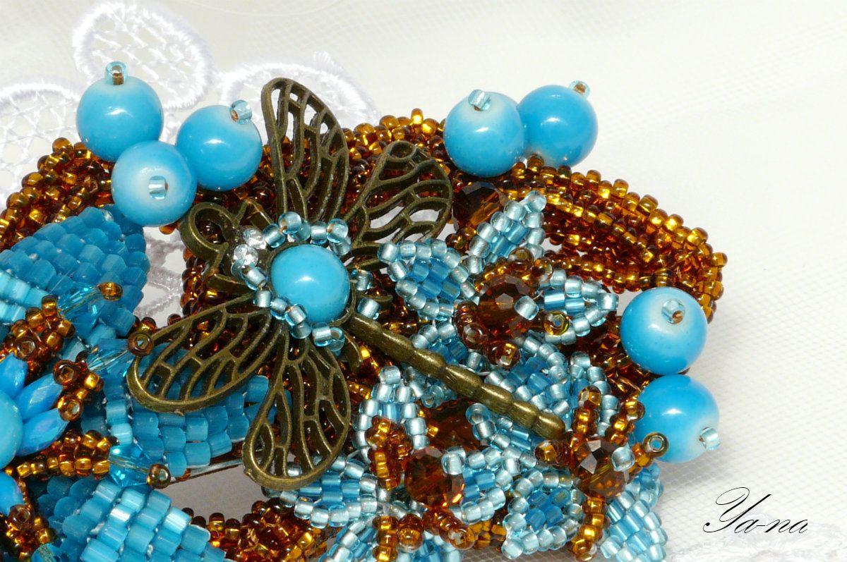 бирюзовый голубаязаколка налюбойслучай бисероплетение стрекоза длядевушки коричневый заколка ручная купитьподарок новосибирск длялюбимой работа подарокдля ягоды бисерныецветы цветыизбисера